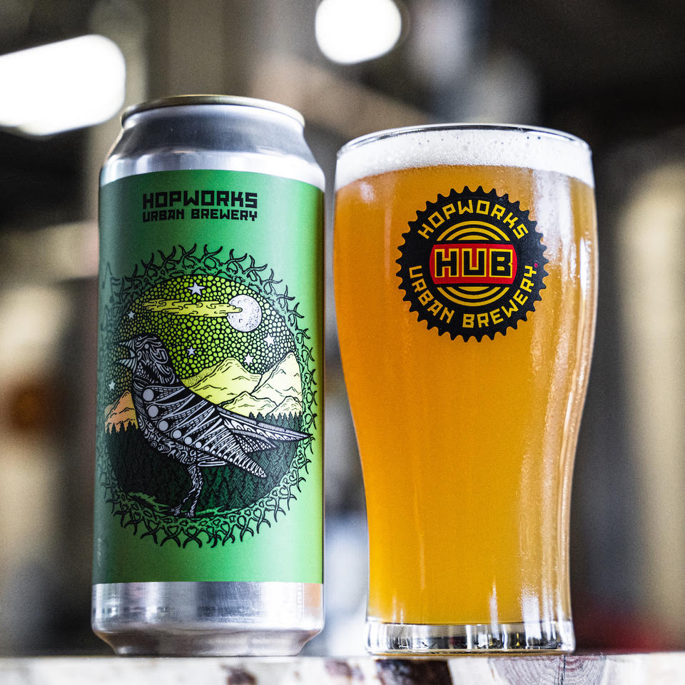 image of Fresh Hop Singing Bird Hazy IPA courtesy of Hopworks Urban Brewery