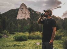 Drew Smith drinking a Flyjack Hazy IPA. (image courtesy of Firestone Walker Brewing)