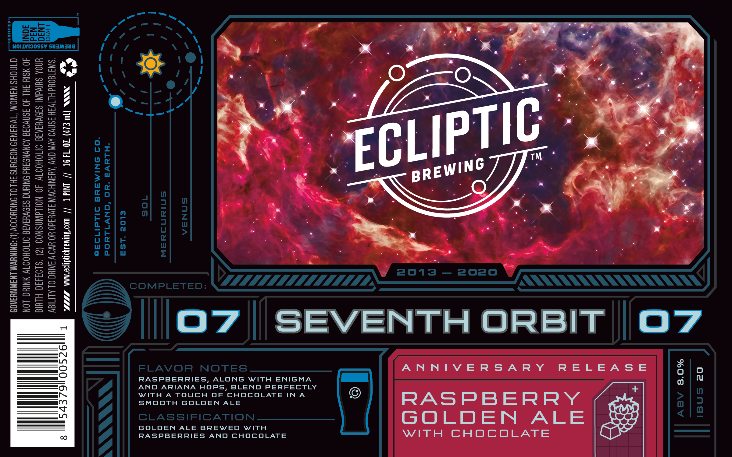 Ecliptic Brewing Seventh Orbit Raspberry Golden Ale with Chocolate Label
