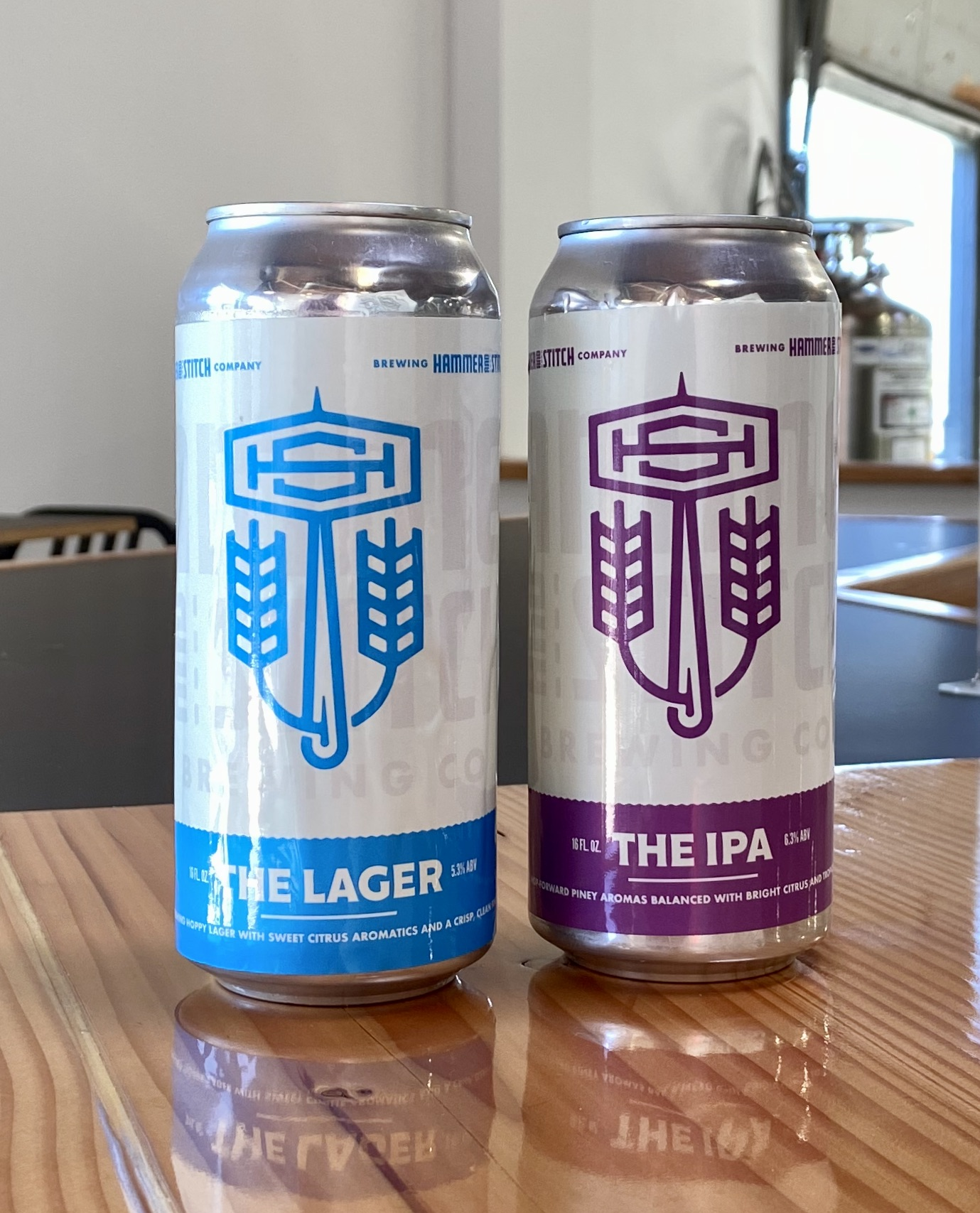 Tallboy, 16oz cans will be forthcoming for The Lager and The IPA at Hammer & Stitch Brewing. The goal is to have these packaged by late October.
