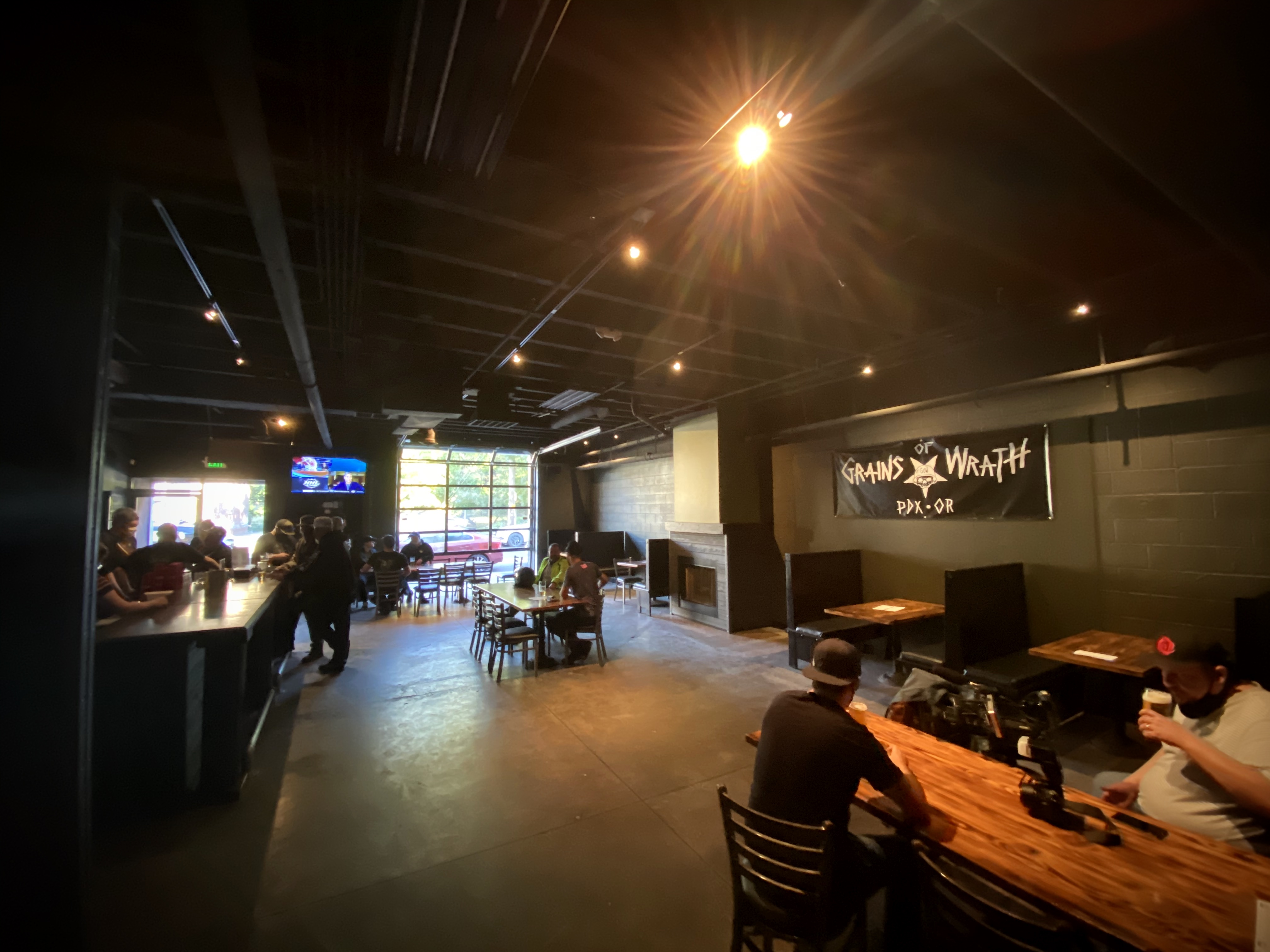The dark, all black painted space at the newly opened Grains of Wrath - PDX.