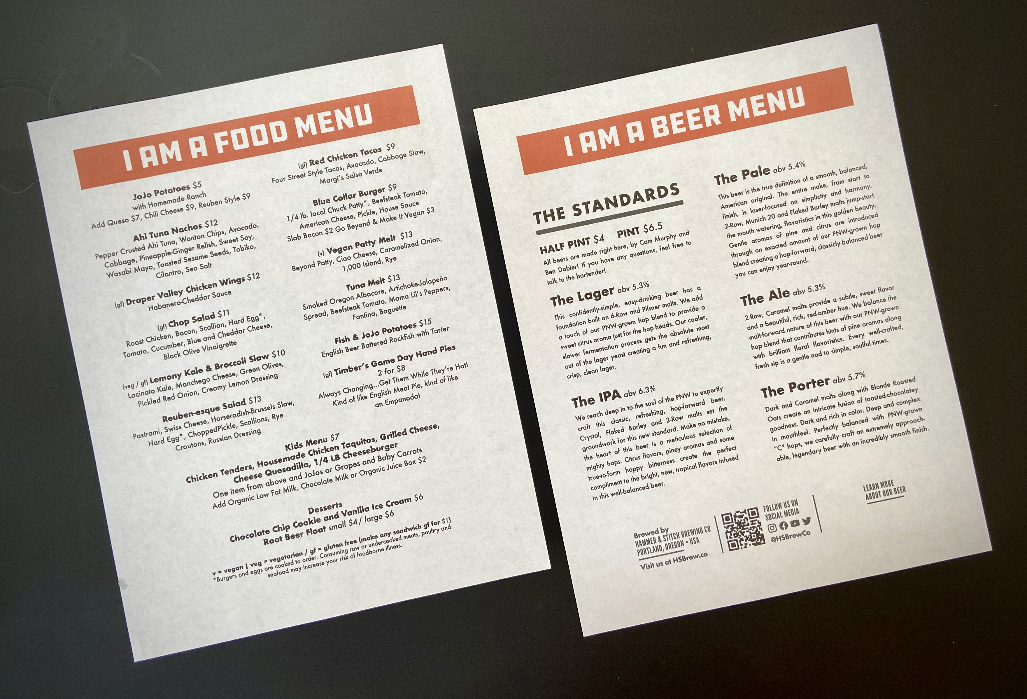 The opening day beer and food menu at Hammer & Stitch Brewing.