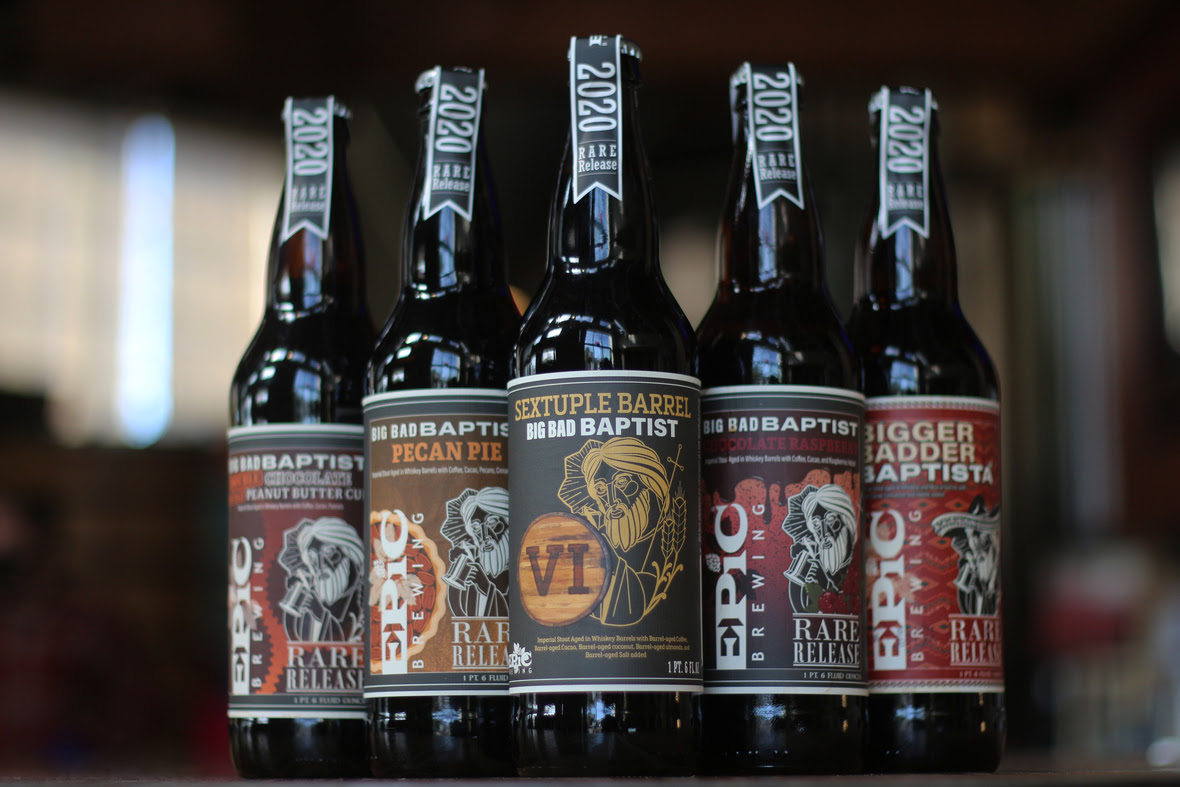 Big Bad Baptist Variants 2020 - Double Chocolate Double Peanut Butter Cup, Pecan Pie, Sextuple Barrel, Chocolate Raspberry, Bigger Badder Baptista (image courtesy of Epic Brewing)