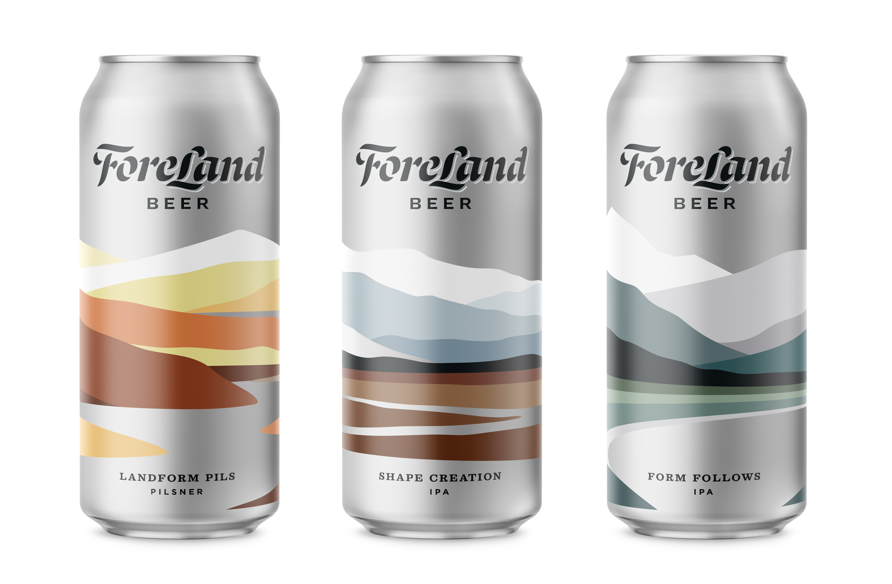 ForeLand Beer lineup of Landform Pils, Shape Creation IPA, and Form Follows IPA,