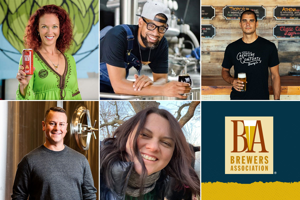Newly elected members to the Brewers Association Board of Directors. Top row, left to right: Virginia Morrison, Marcus Baskerville, Chris Herron. Bottom row, left to right: Dan Kleban, Betty Bollas.