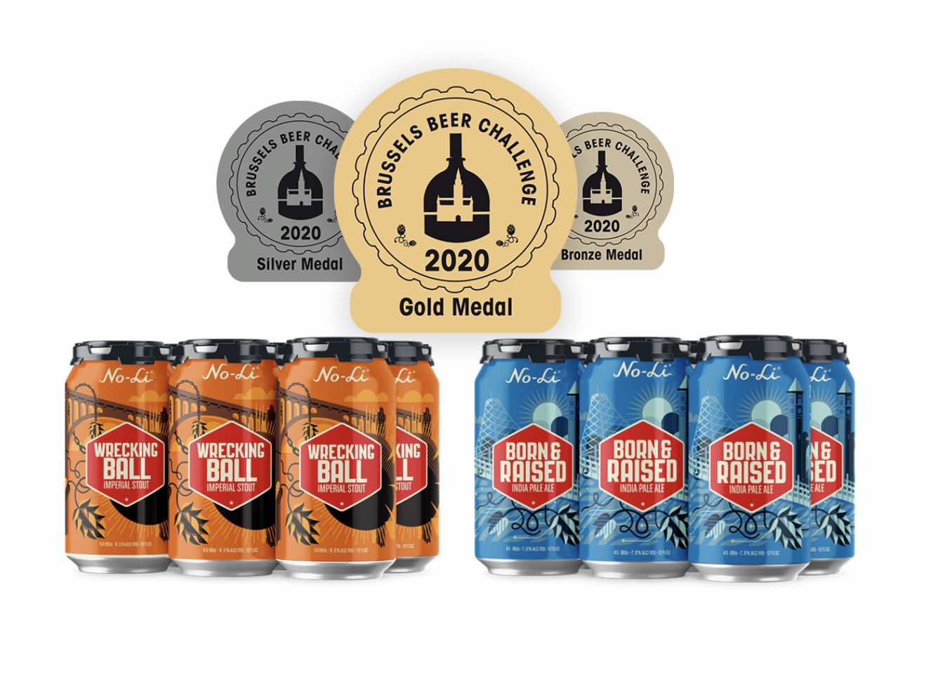 No-Li Brewhoust was awarded Gold Medals at the 2020 Brussels Beer Challenge for Born & Raised IPA and Wrecking Ball Imperial Stout