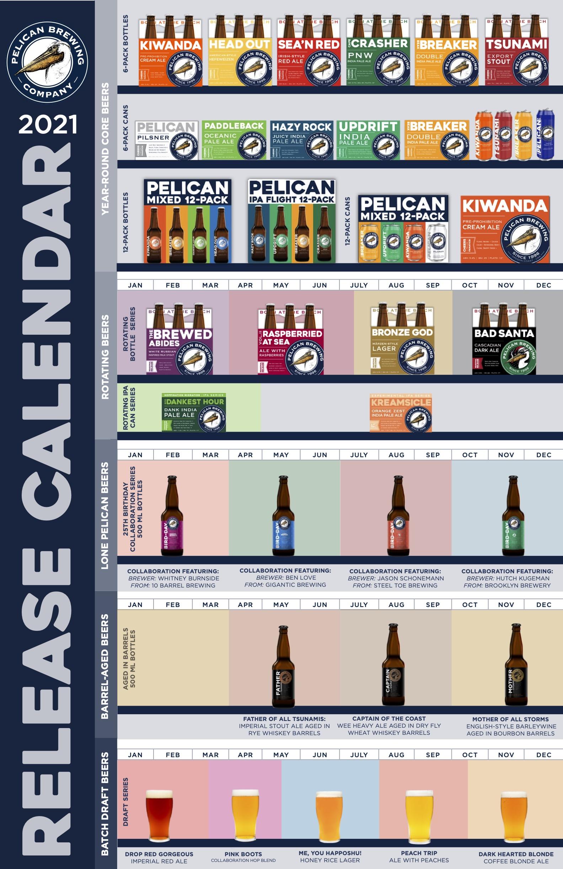 Pelican Brewing 2021 Beer Release Calendar