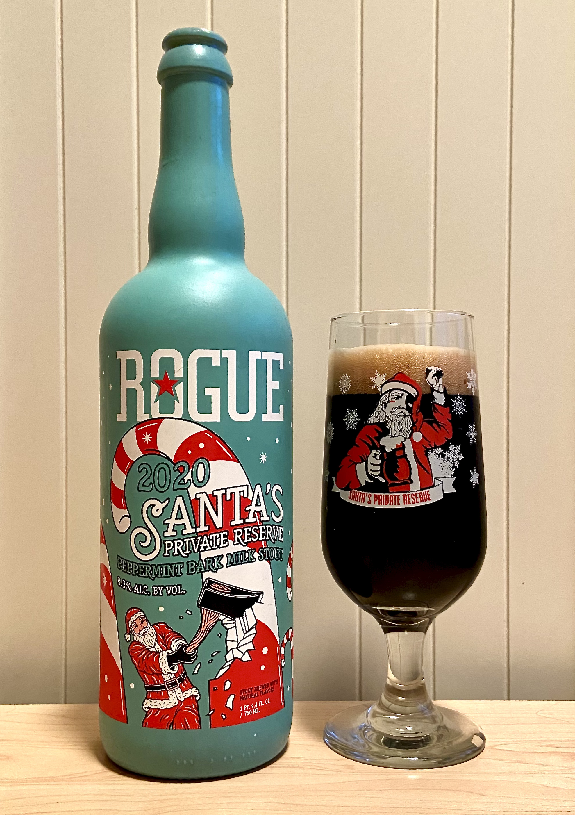 Rogue Ales 2020 Santa's Private Reserve - Peppermint Bark Milk Stout lives up to its name. Its a decadent beer!