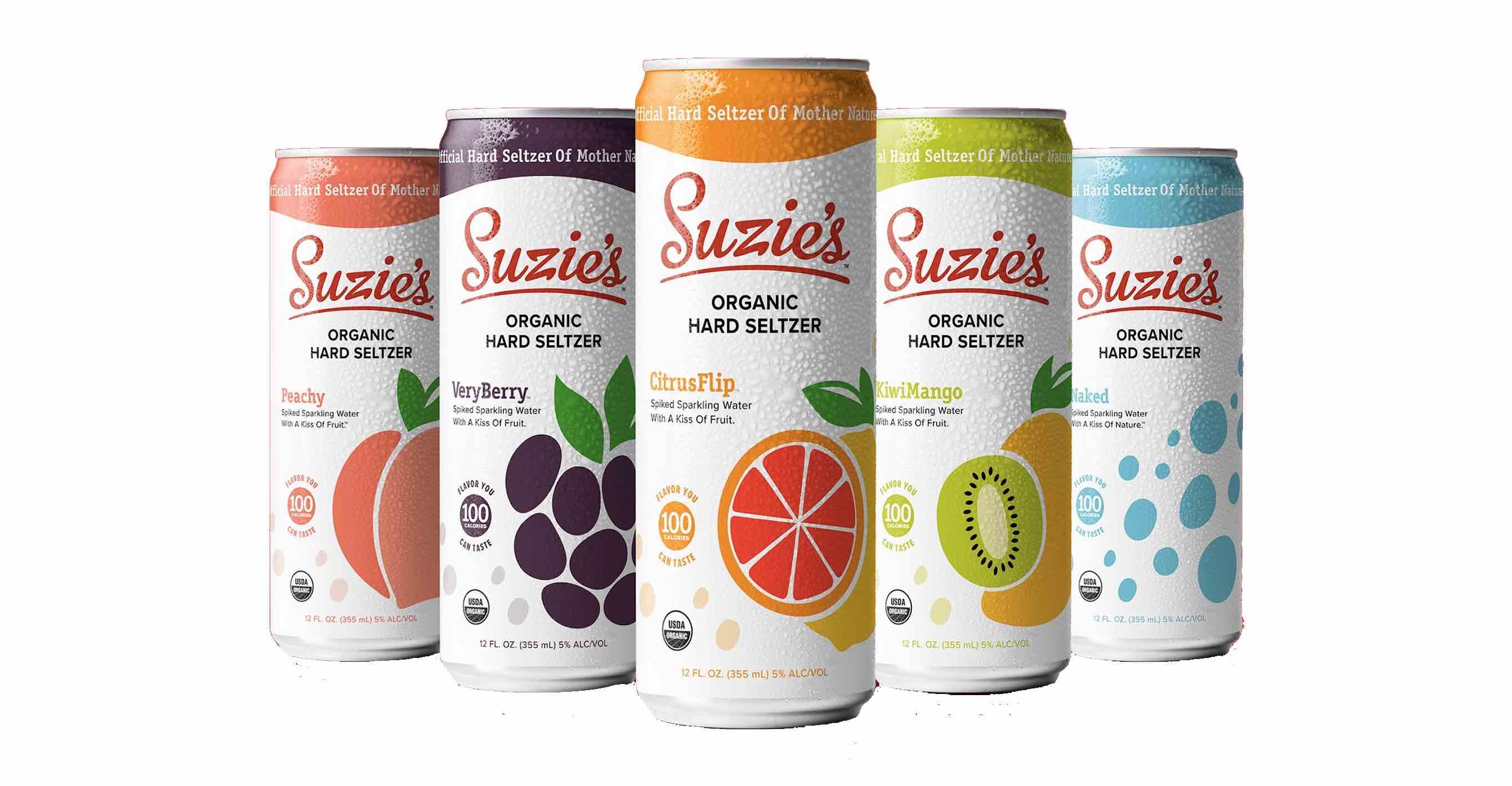 Suzie's Organic Hard Seltzer - Peachy, VeryBerry, CitrusFlip, KiwiMango, and Naked.