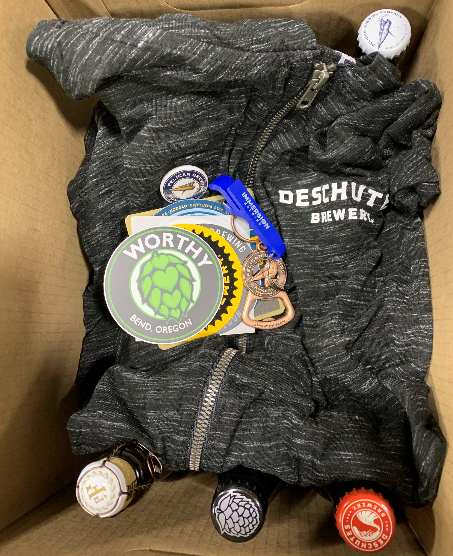 Swag box for the first 250 to order the Deschutes Brewery Forged Together Box.