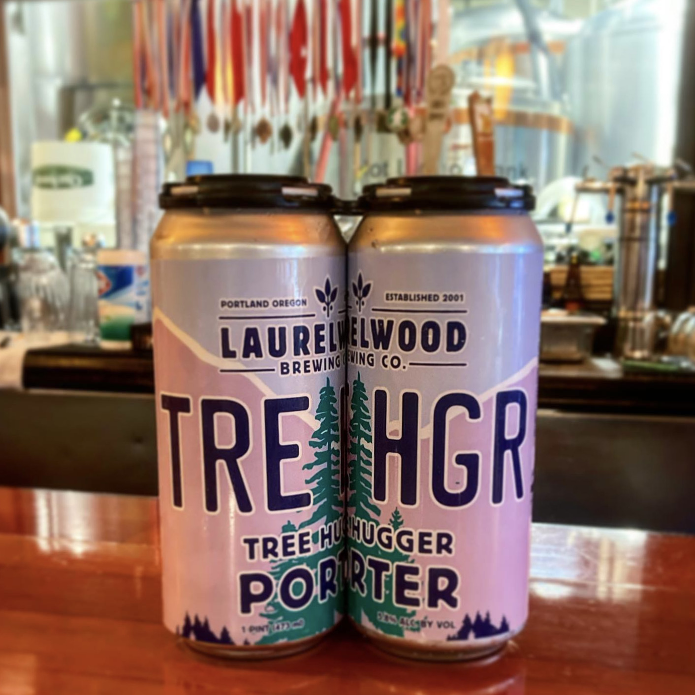 image of Tree Hugger Porter in 4-pack, 16oz cans courtesy of Laurelwood Brewing