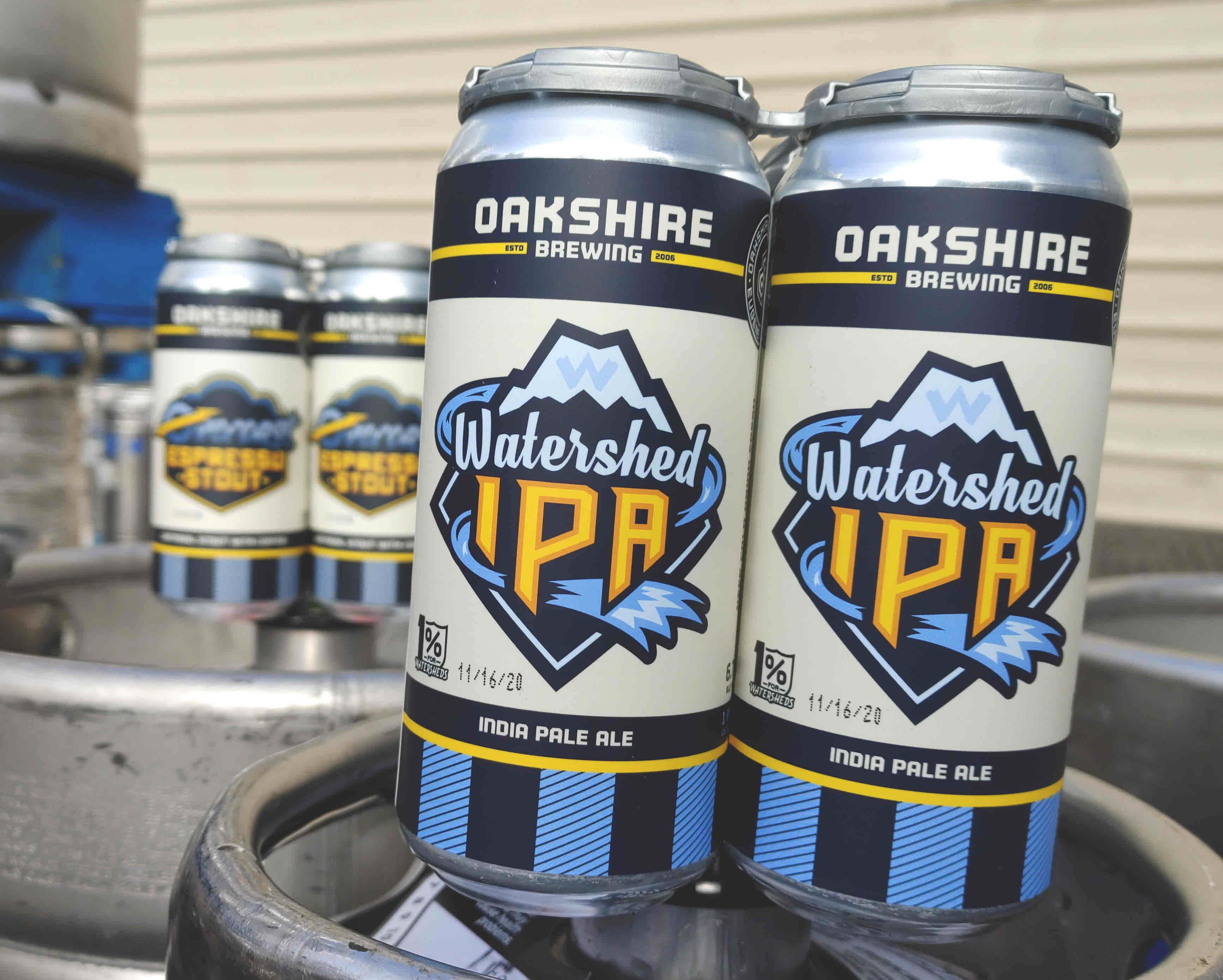 image of Watershed IPA in new 16oz cans courtesy of Oakshire Brewing