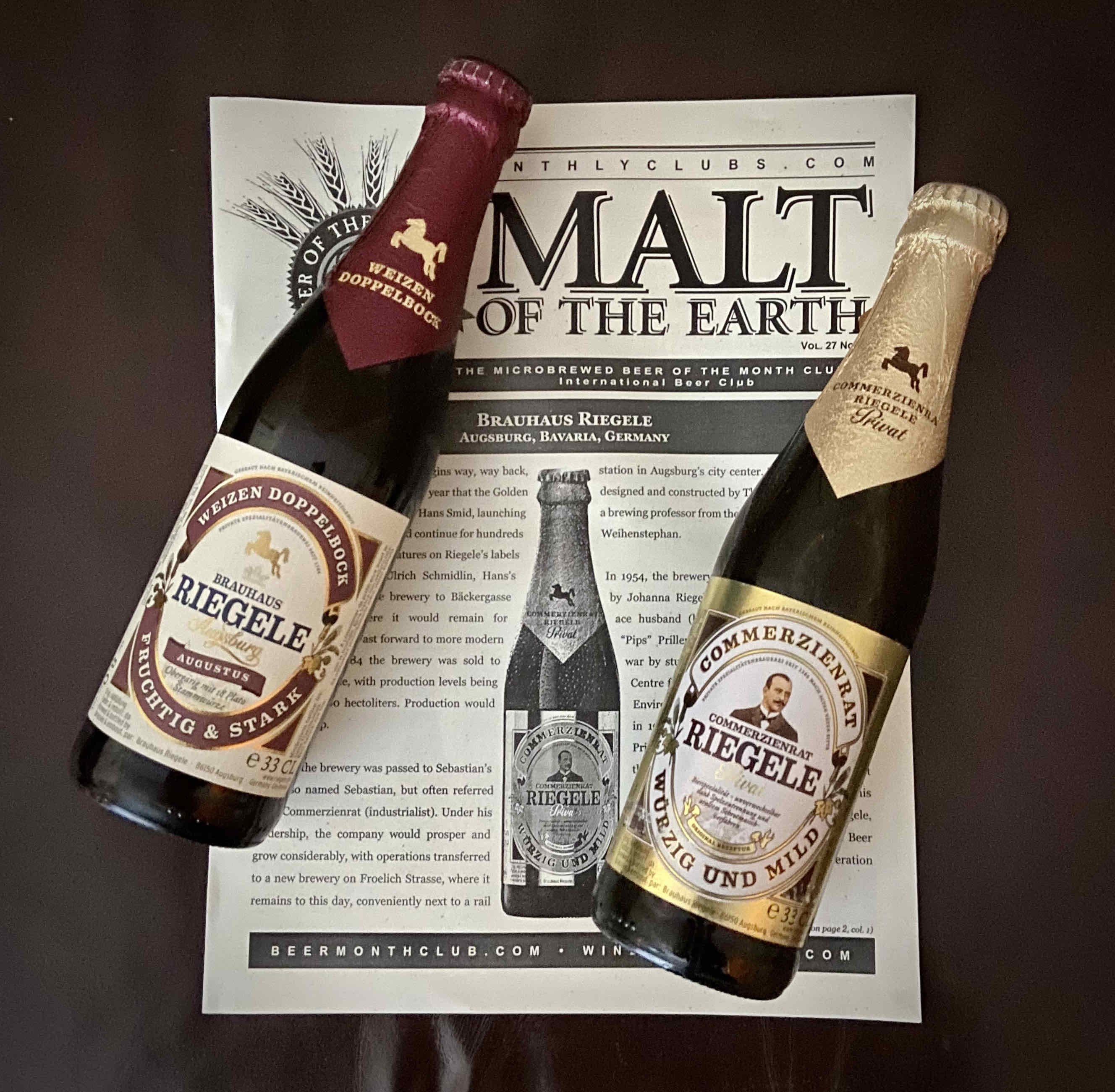 Receive 12 imported beers from The International Beer Club. The November box included two different beers from Brauhaus Riegele.