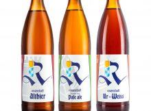 Rosenstadt Brewery Altbier, German Hop Pale Ale, and Ur-Weiss. (Larson Images @jonpdx)