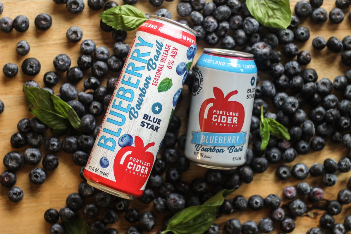 image of Blueberry Bourbon Basil courtesy of Portland Cider Co.