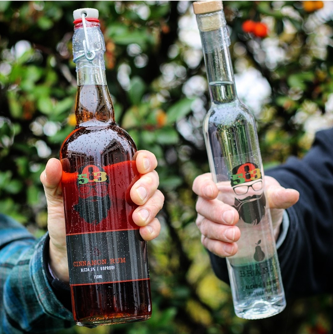 image of Wildfire Cinnamon Rum and 503 Pear Brandy courtesy of 503 Distilling