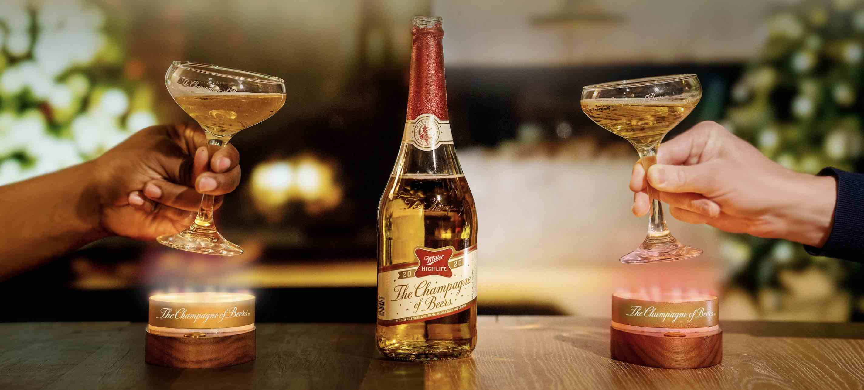 image of the Miller High Life Wi-Fi Enabled Coupe Glasses courtesy of Miller High Life