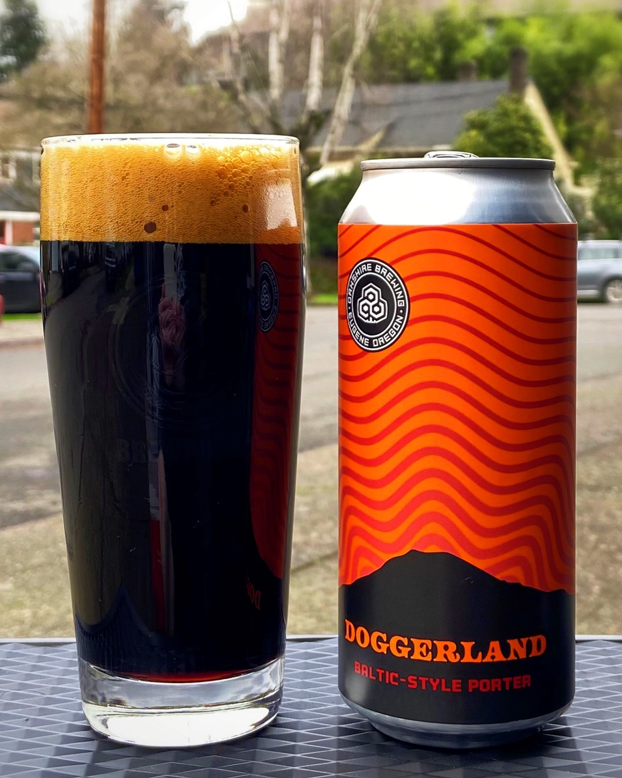 A glass pour of Doggerland Baltic-Style Porter from Oakshire Brewing.
