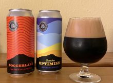 A glass pour of Genuine Optimism American Porter from Oakshire Brewing pictures alongside Doggerland Baltic-Style Porter