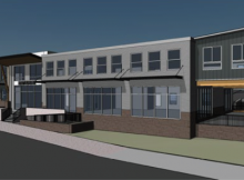 Architectural rendering of the forthcoming Stickmen Brewing taproom at located at Kirkland Place Plaza at Barnes and 118th in Cedar Mill.