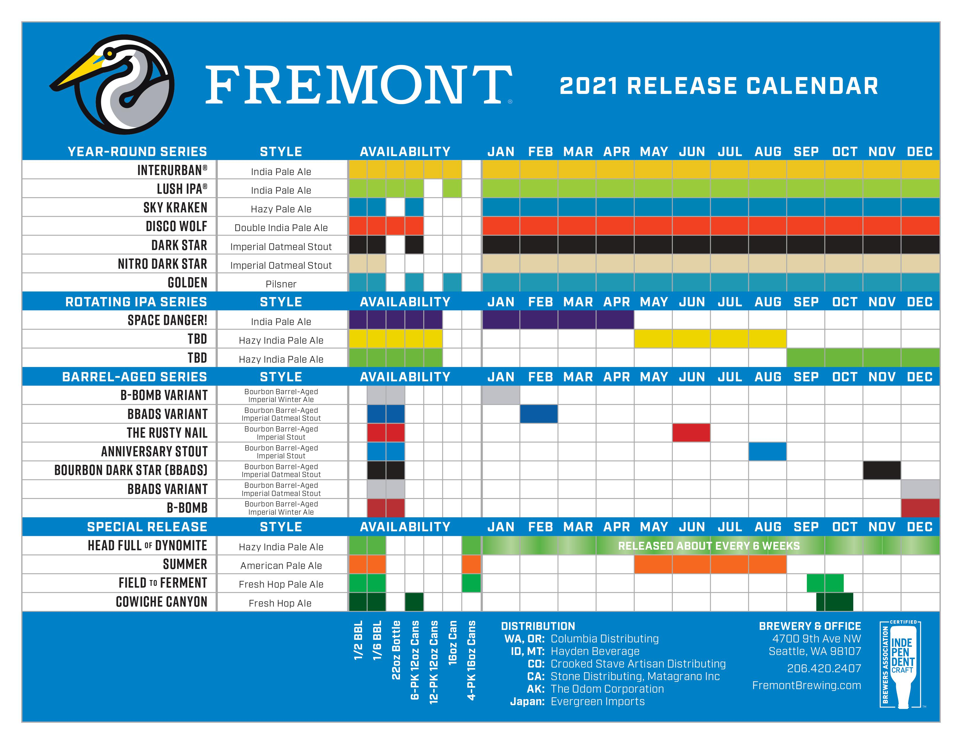 Fremont Brewing 2021 Beer Release Calendar