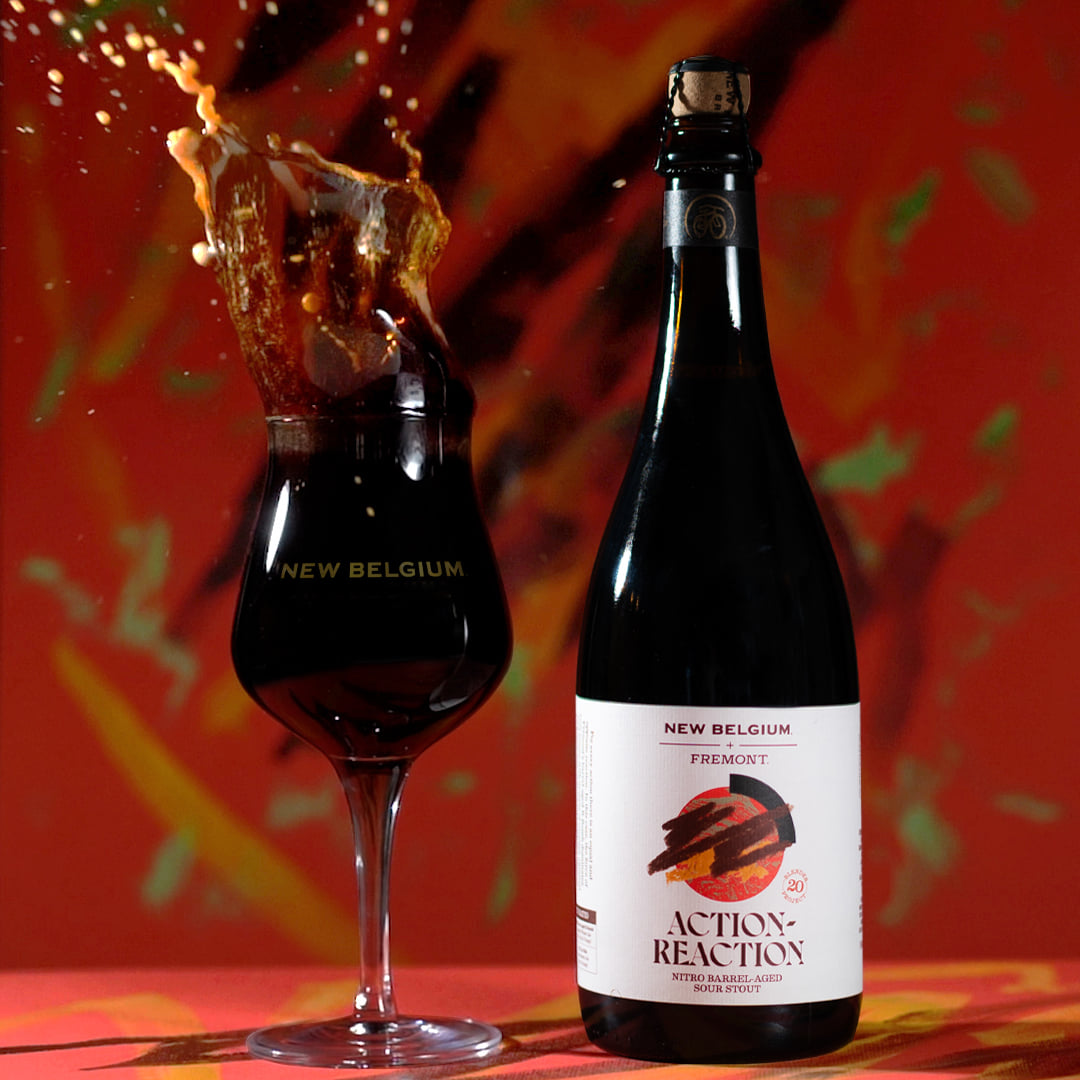 New Belgium Brewing Collaborates with Fremont Brewing on Action Reaction Nitro Barrel-Aged Sour Stout.(image courtesy of New Belgium Brewing)