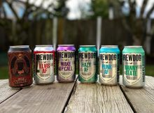 The line up of non-alcoholic beers from BrewDog - Ghost Walker, Elvis AF, Wake Up Call, Hazy AF, Punk AF, and Nanny State