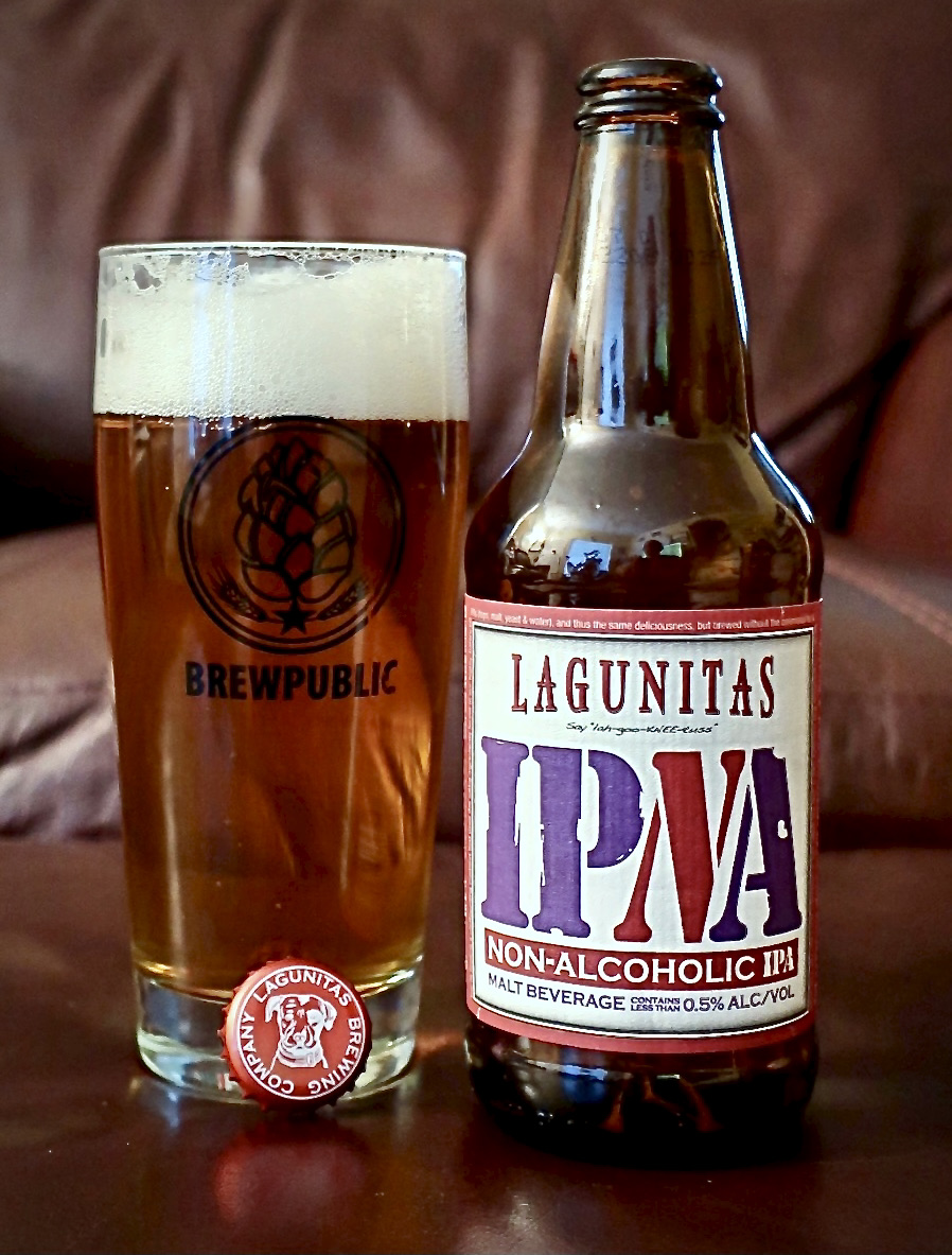 The new Lagunitas IPNA appears and tastes close enough to a regular IPA even though it is non-alcoholic