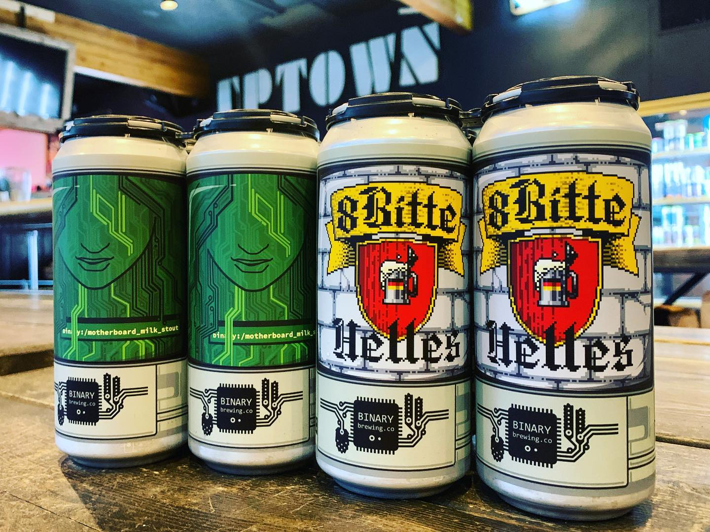 image of 8-Bitte Helles Lager + Motherboard Milk Stout courtesy of Binary Brewing