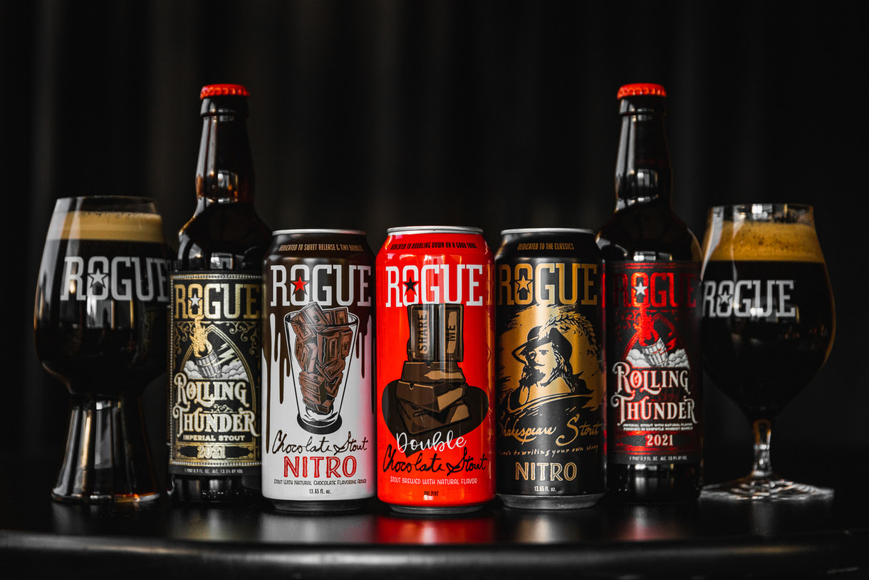 image of Rolling Thunder Imperial Stout, Chocolate Stout Nitro, Double Chocolate Stout, Shakespeare Stout Nitro, and Rolling Thunder Imperial Chipotle Stout courtesy of Rogue Ales & Spirits
