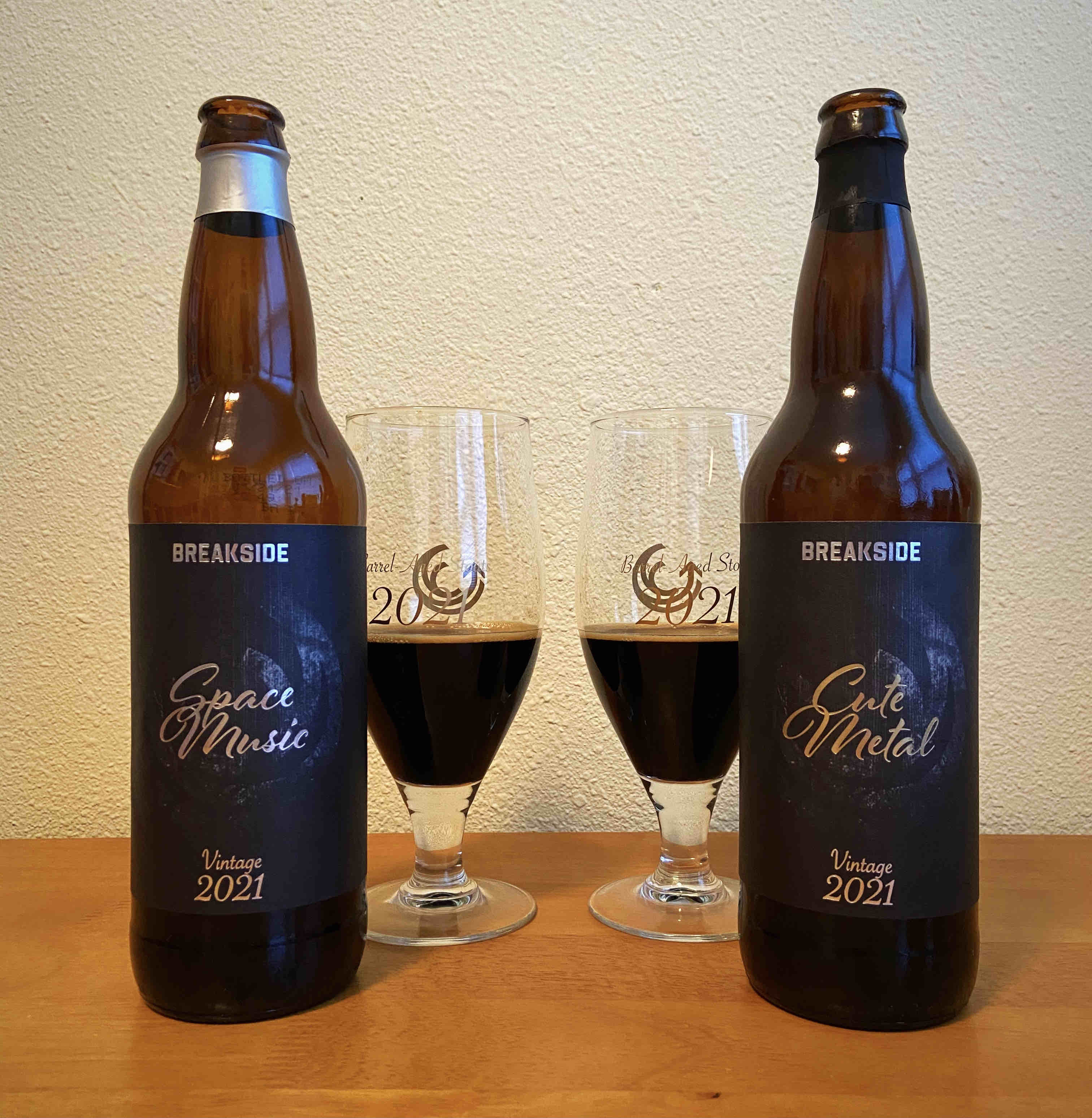 Breakside Brewery revamps its barrel-aging program in 2021. The first two releases are Space Music and Cute Metal, both in 22oz bottles.
