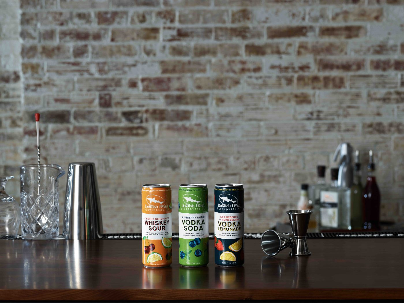 Dogfish Head Distilling Co. new lineup of ready-to-drink Canned Cocktails. (image courtesy of Dogfish Head Craft Distilling Co.)