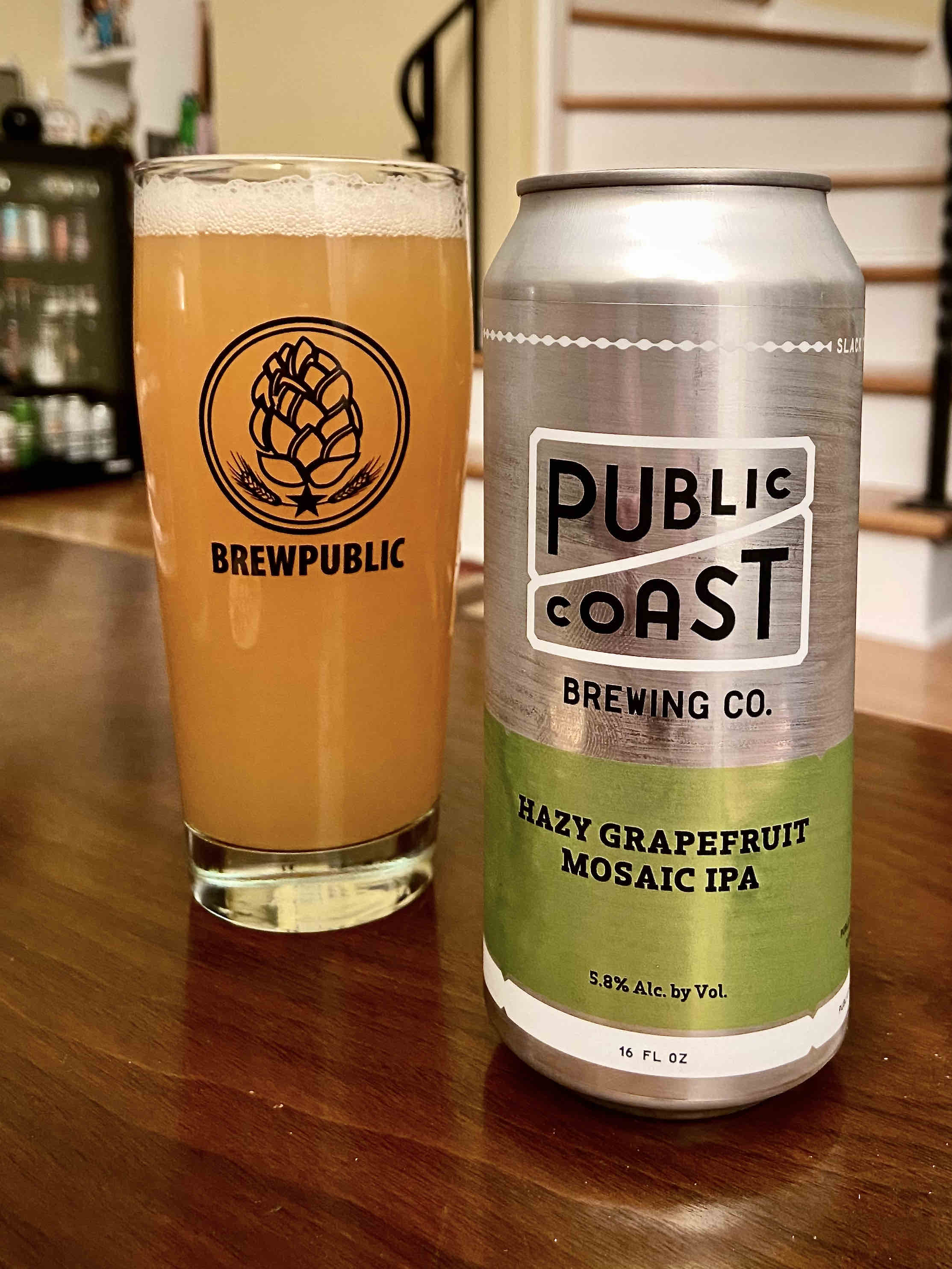 Public Coast Brewing Co. releases Hazy Grapefruit Mosaic IPA in 16oz cans.