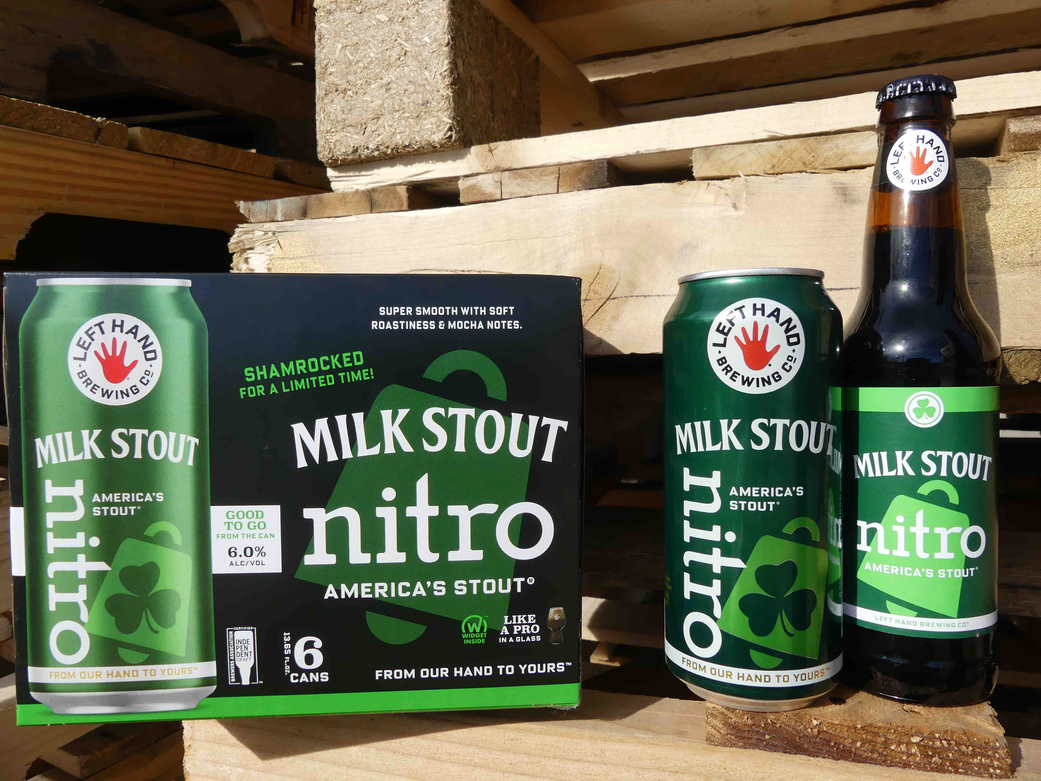 image of Milk Stout Nitro in a green can and green bottle courtesy of Left Hand Brewing