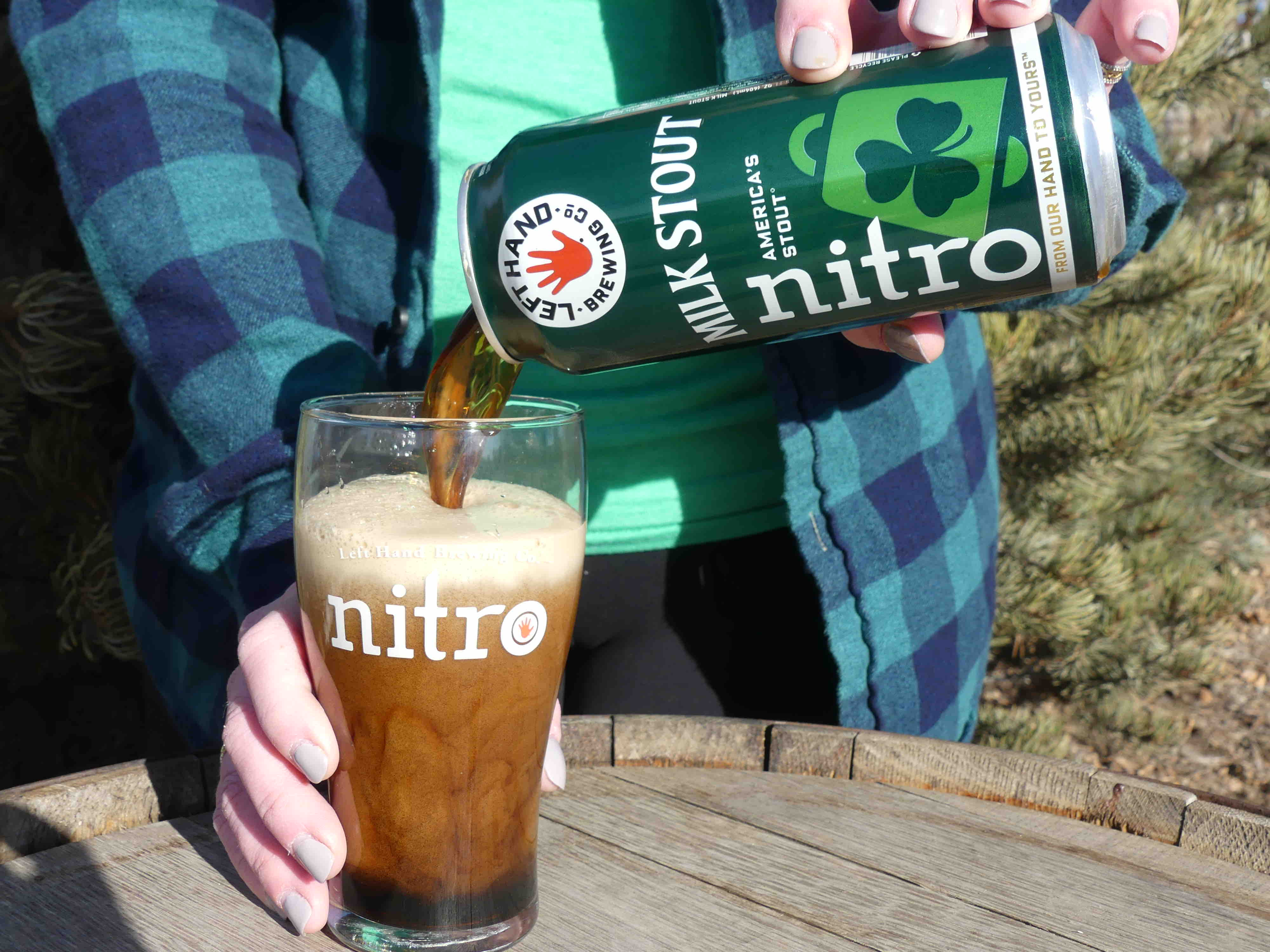 image of Milk Stout Nitro pour from a green can courtesy of Left Hand Brewing