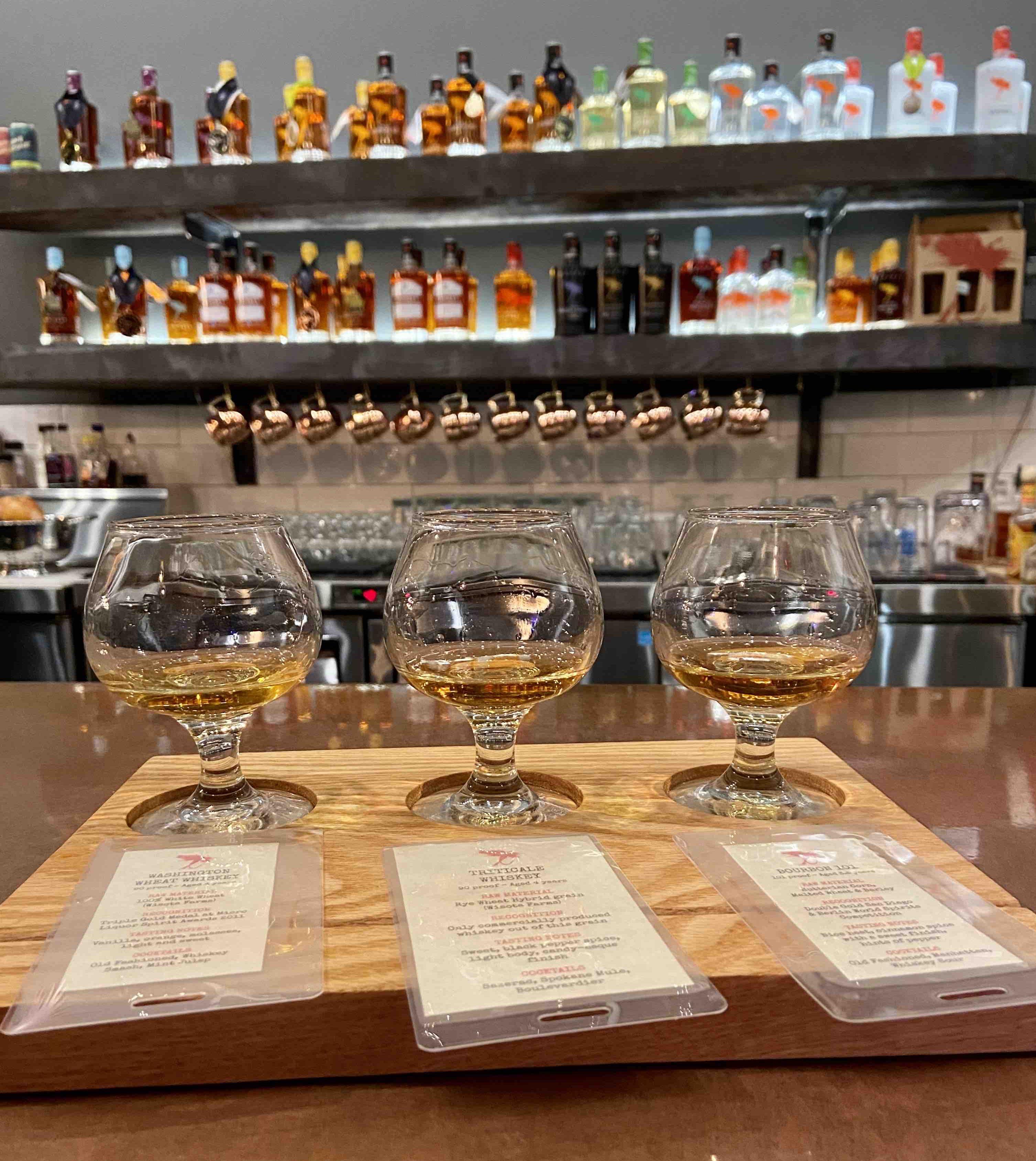 A taster flight of whiskey at Dry Fly Distilling in Spokane, Washington.