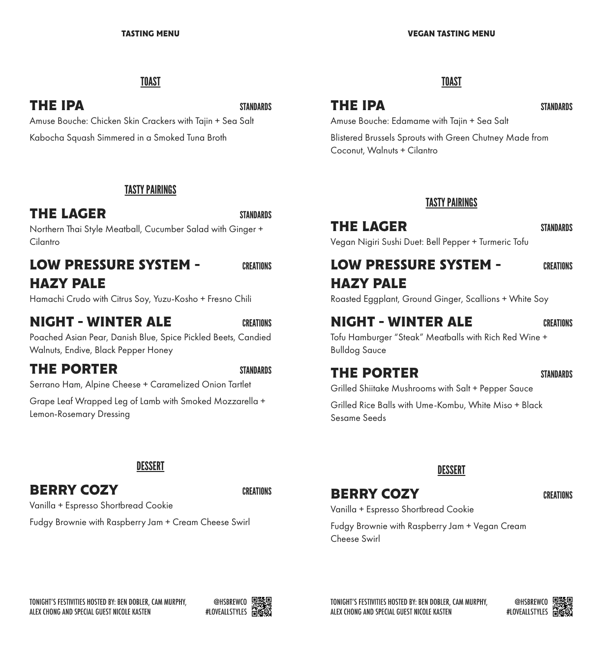 Hammer & Stitch Brewing Toasts with Hosts Virtual Beer and Food Tasting March 2021 Menu