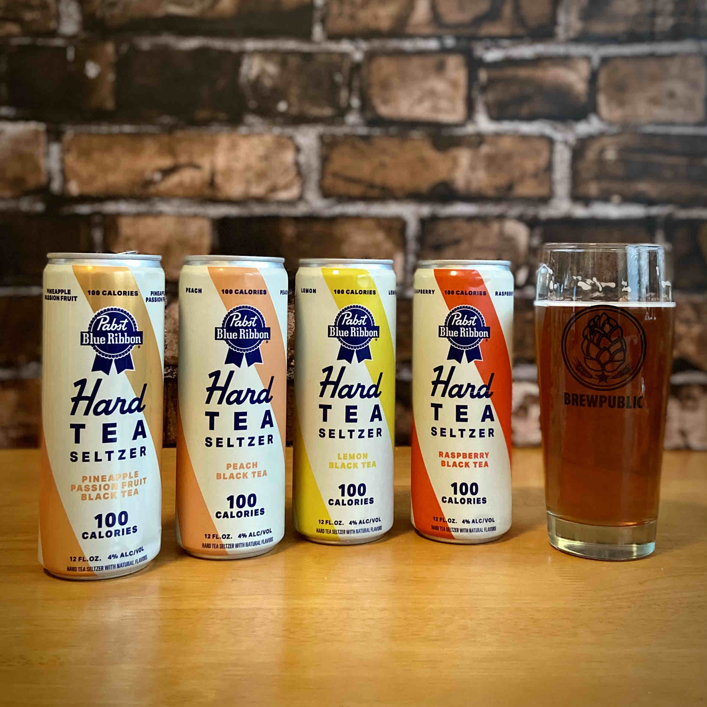 Pabst Blue Ribbon Hard Tea Seltzer comes in four flavors - Pineapple-Passionfruit Black Tea, Peach Black Tea, Lemon Black Tea, and Raspberry Black Tea