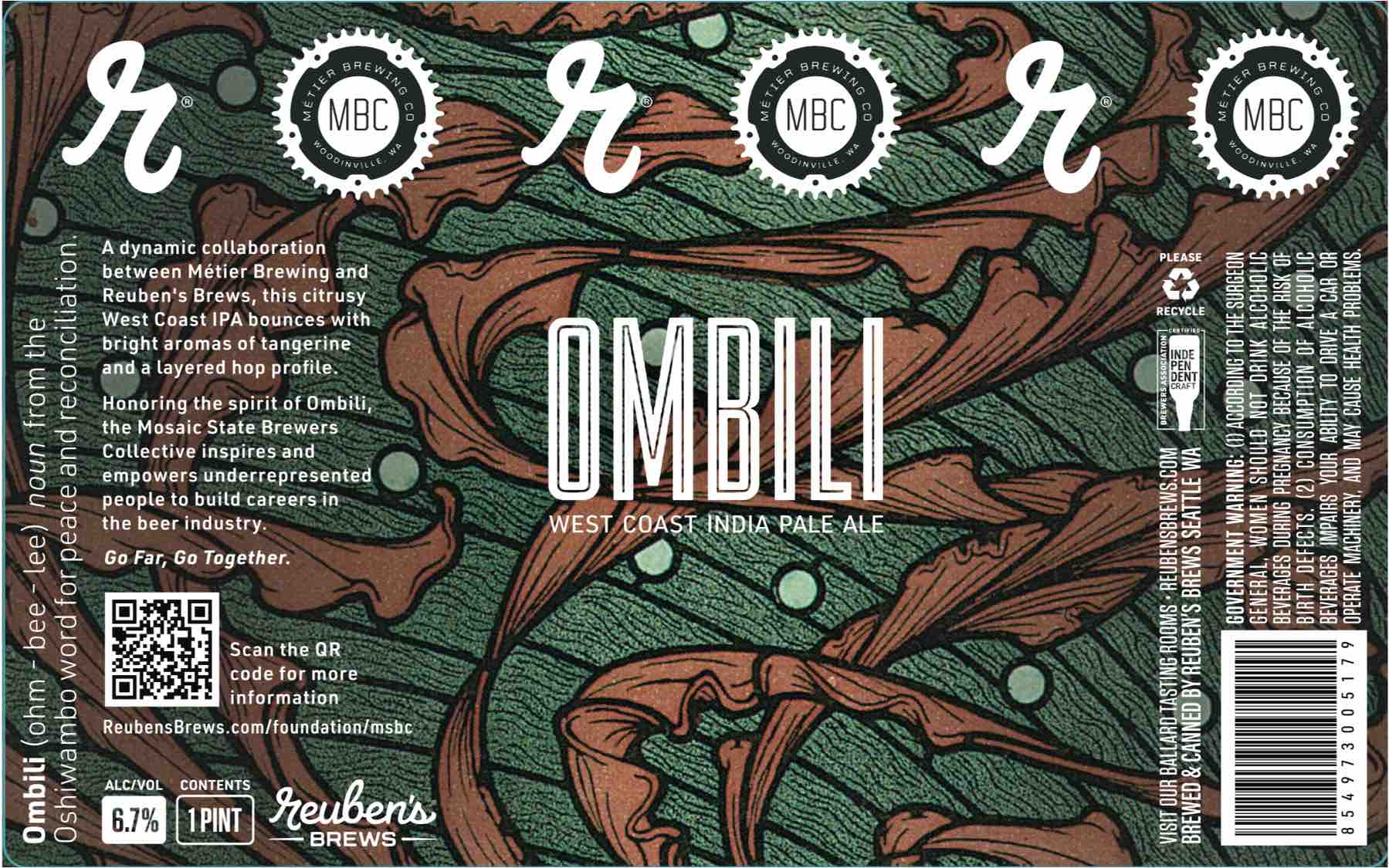 Reuben's Brews Ombili West Coast IPA Label
