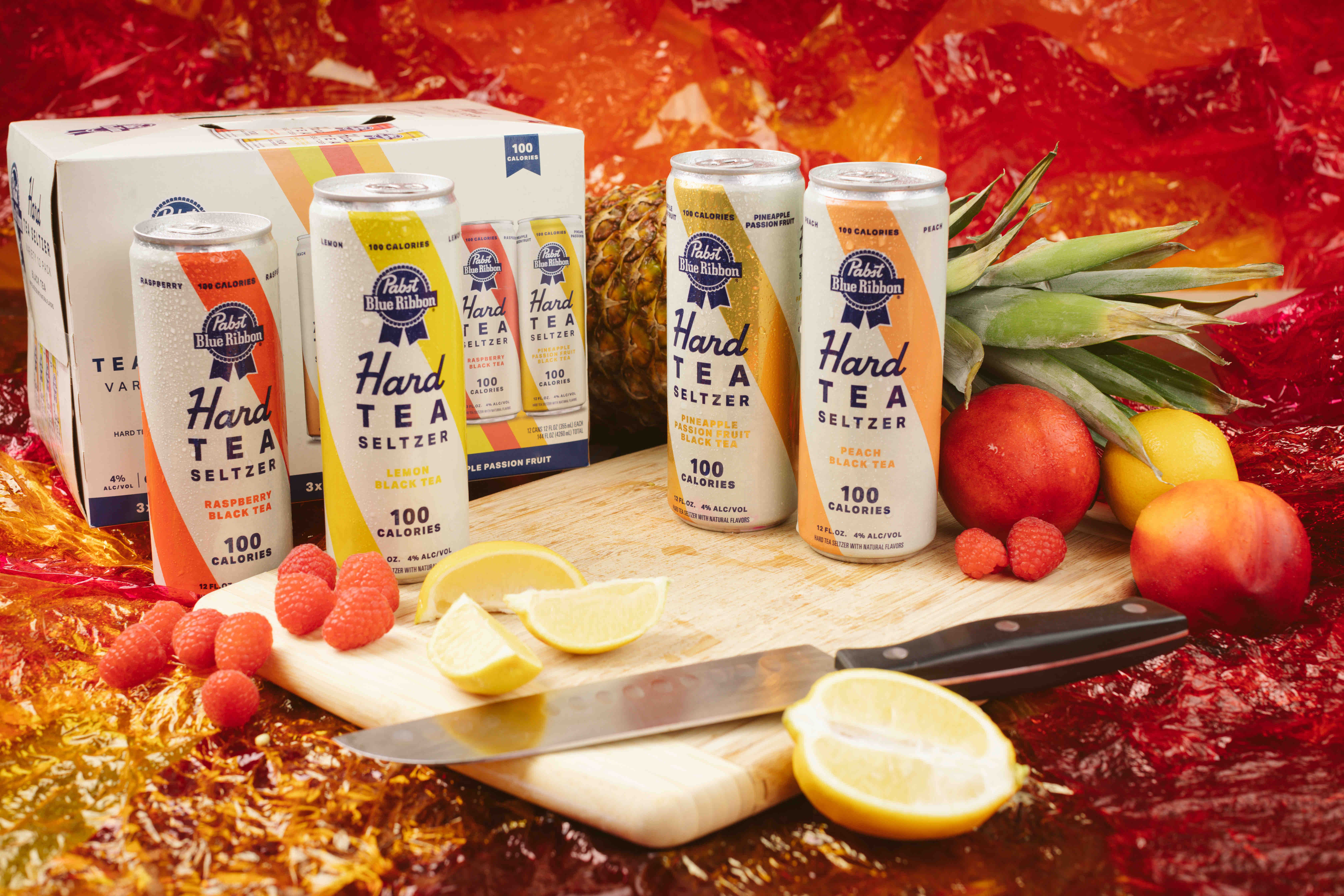 image of the new lineup of Pabst Blue Ribbon Hard Tea Seltzer courtesy of Pabst Brewing Co.