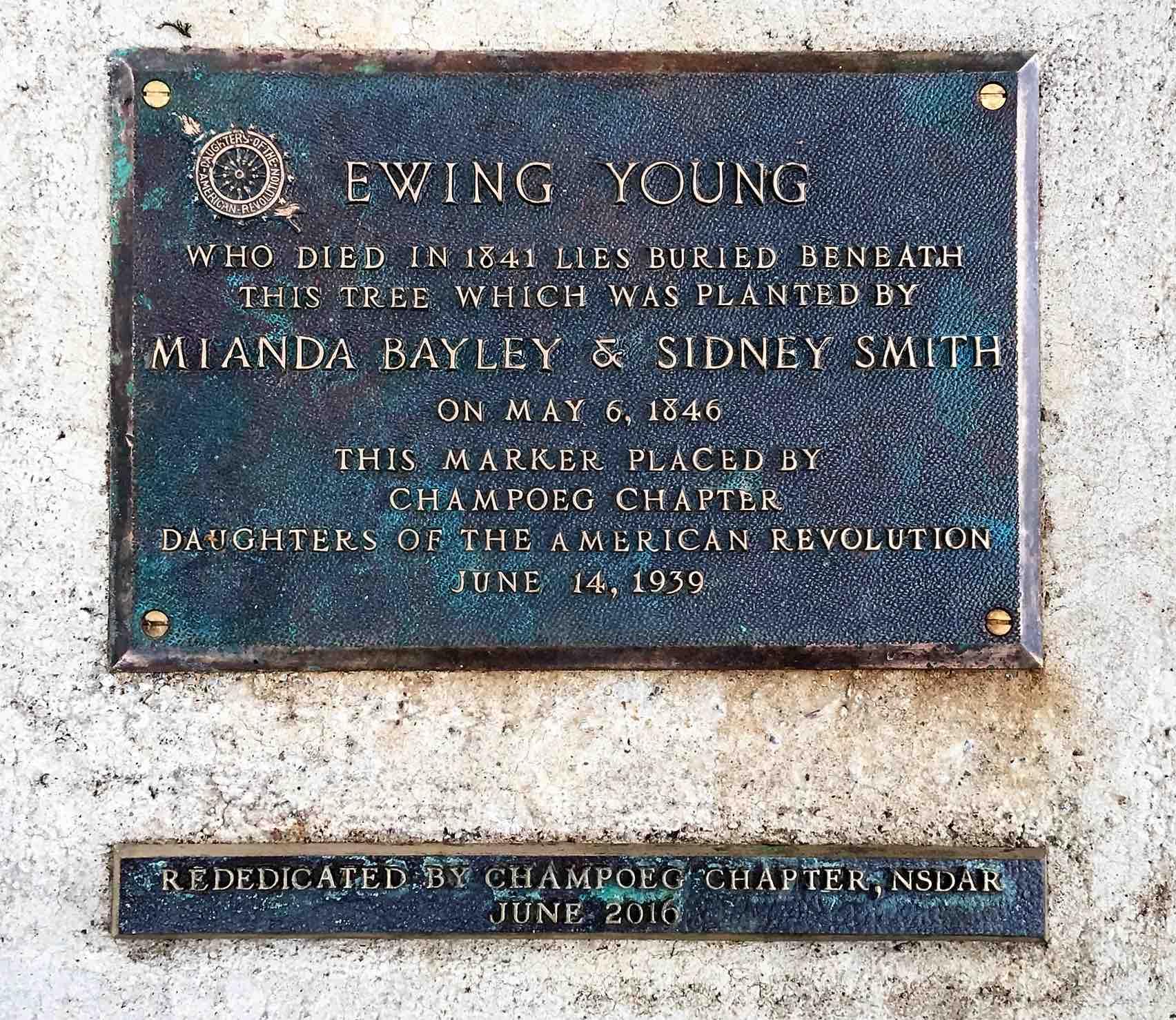 Ewing Young gravestone. (image courtesy of photographer Erica Davis)