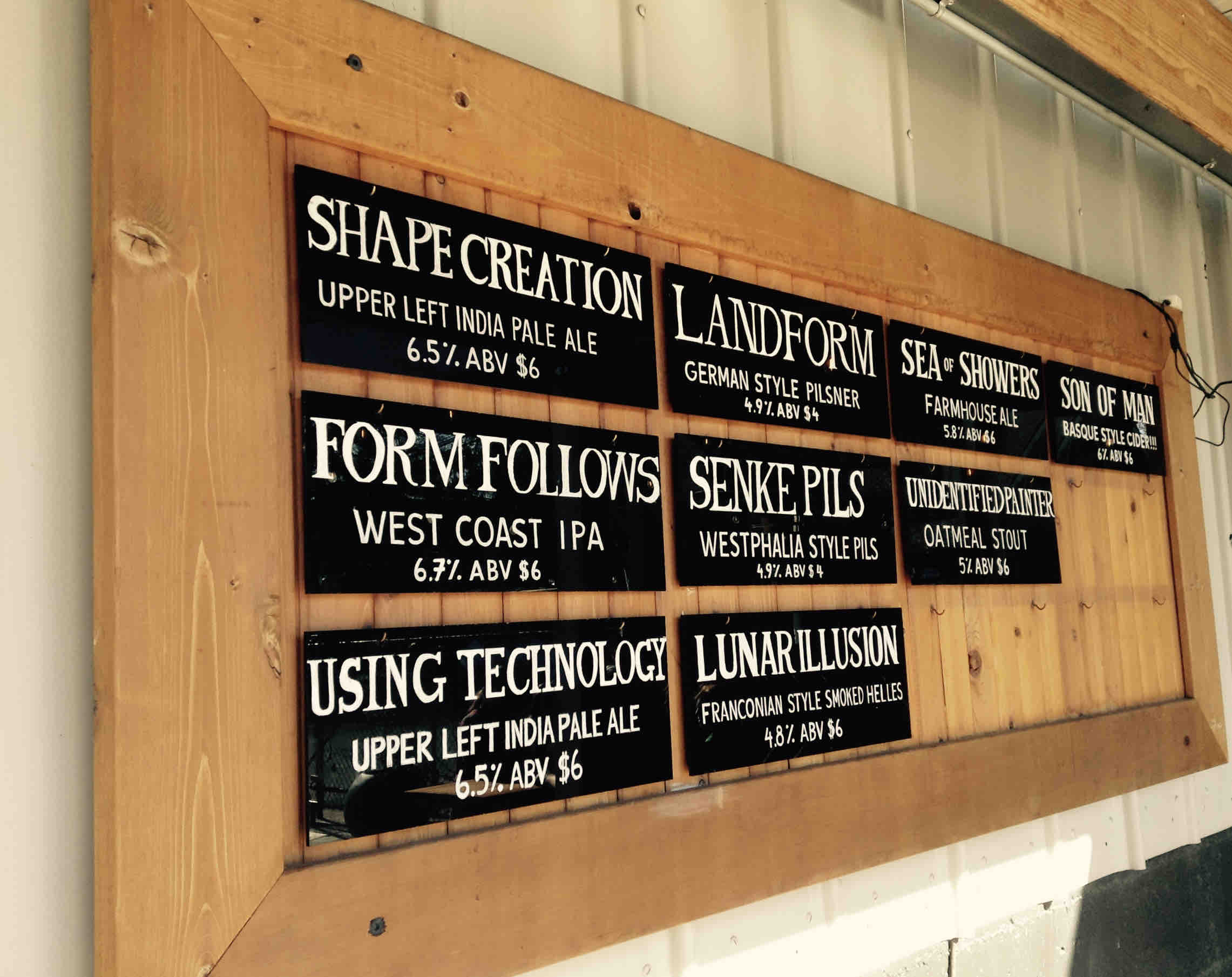 ForeLand Beer taplist in McMinnville, Oregon. (photo by Jessica Wilmes)