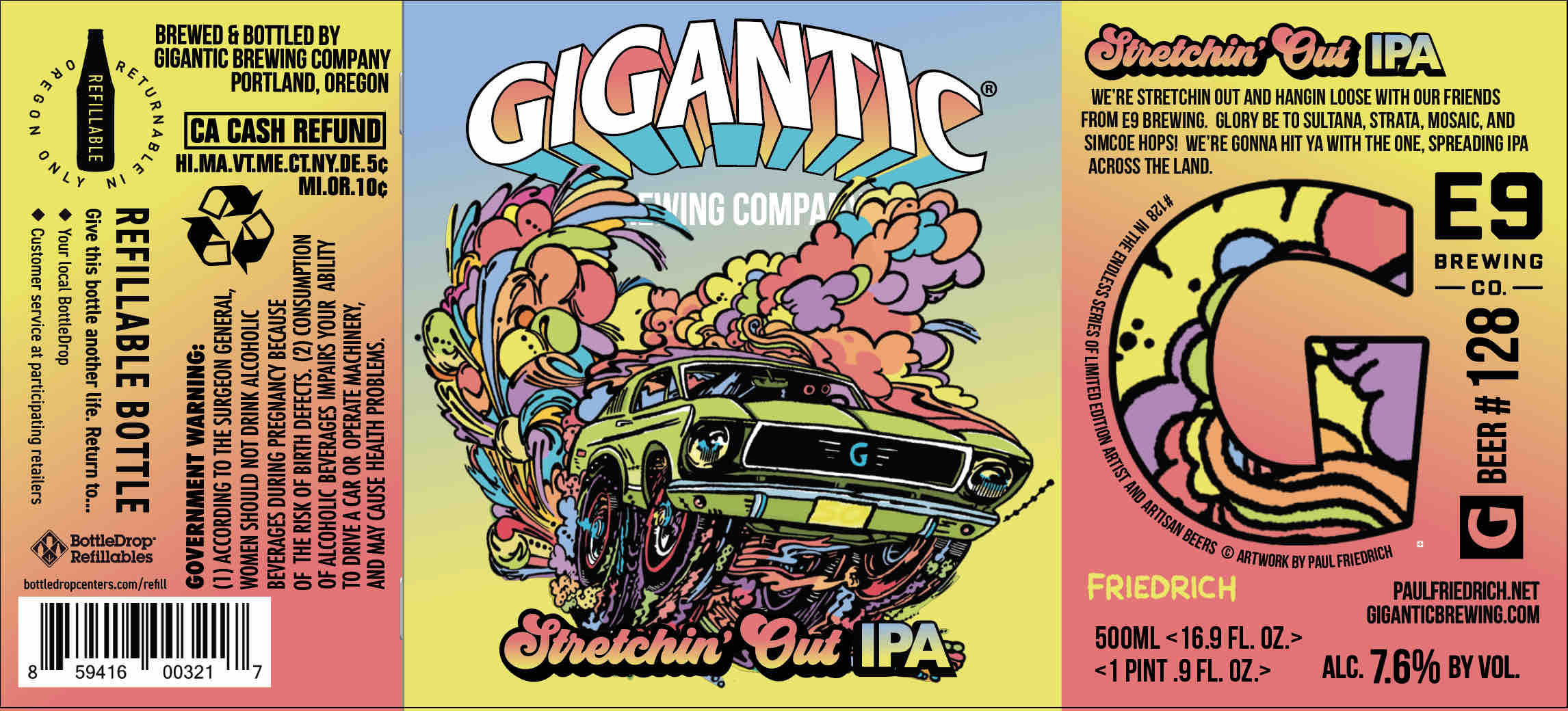Gigantic Brewing & E9 Brewing Stretchin' Out IPA label created by Paul Friedrich