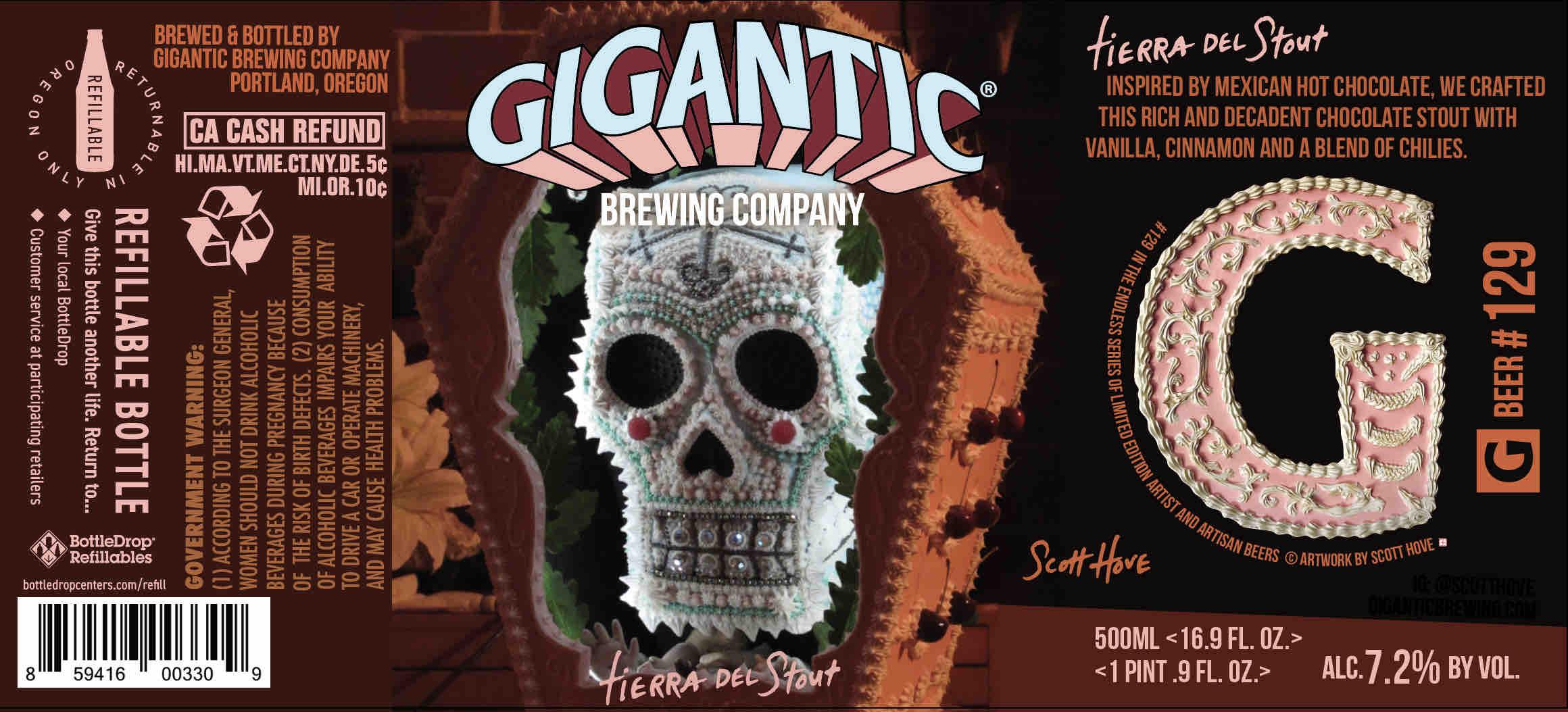 Gigantic Brewing Tierra Del Stout Label by Scott Hove