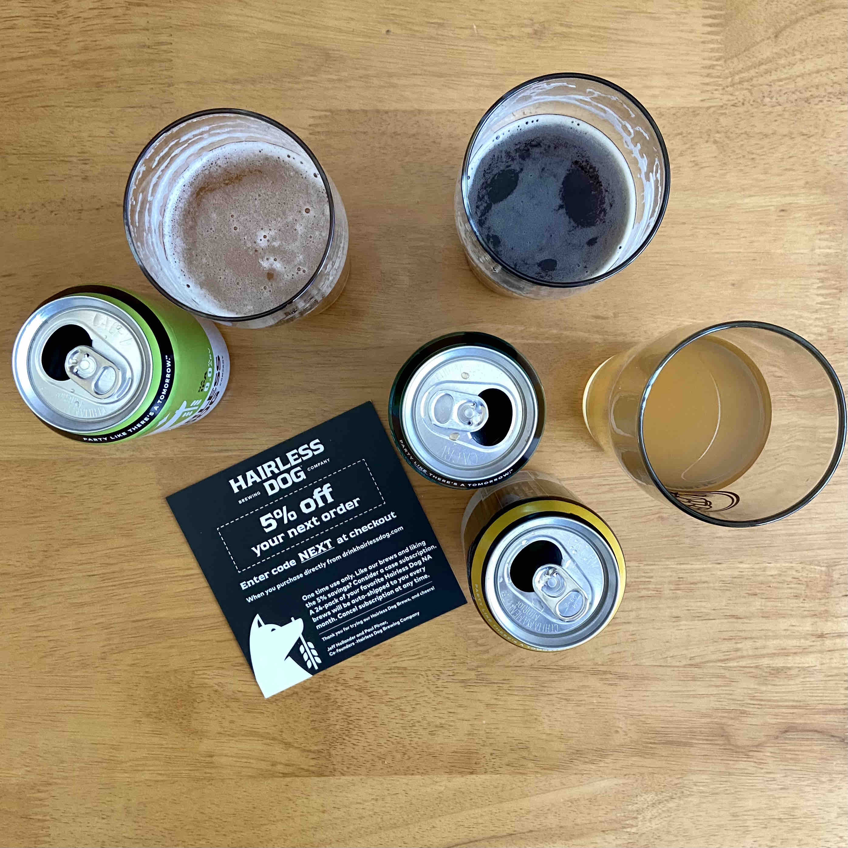 Hairless Dog Brewing has a lineup of 0.0% ABV beers.