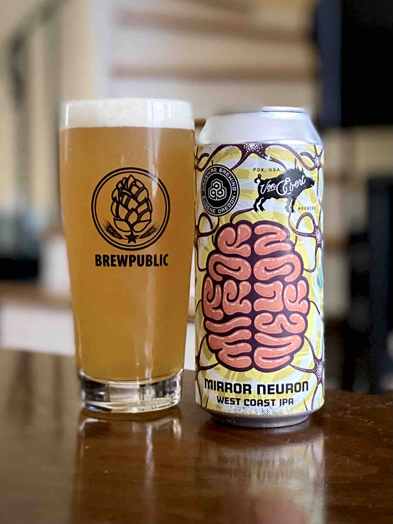 Oakshire Brewing and Von Ebert Brewing collaborate on the enticing Mirror Neuron IPA.