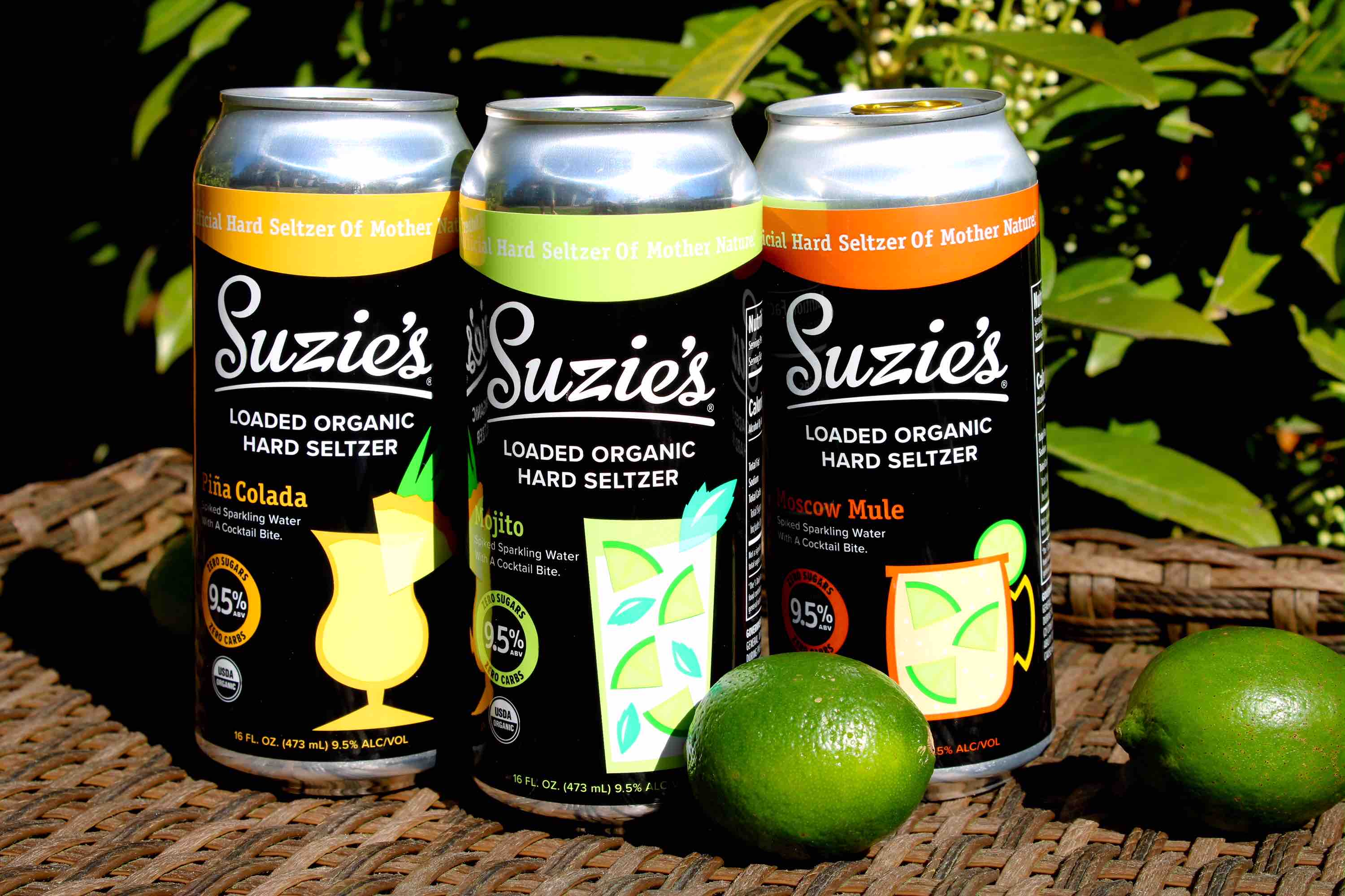 Suzie's Brewery Expands with Lineup of Loaded Organic Hard Seltzers with three flavors - Pina Colada, Mojito, and Moscow Mule. (image courtesy of Suzie's Brewing Co.)