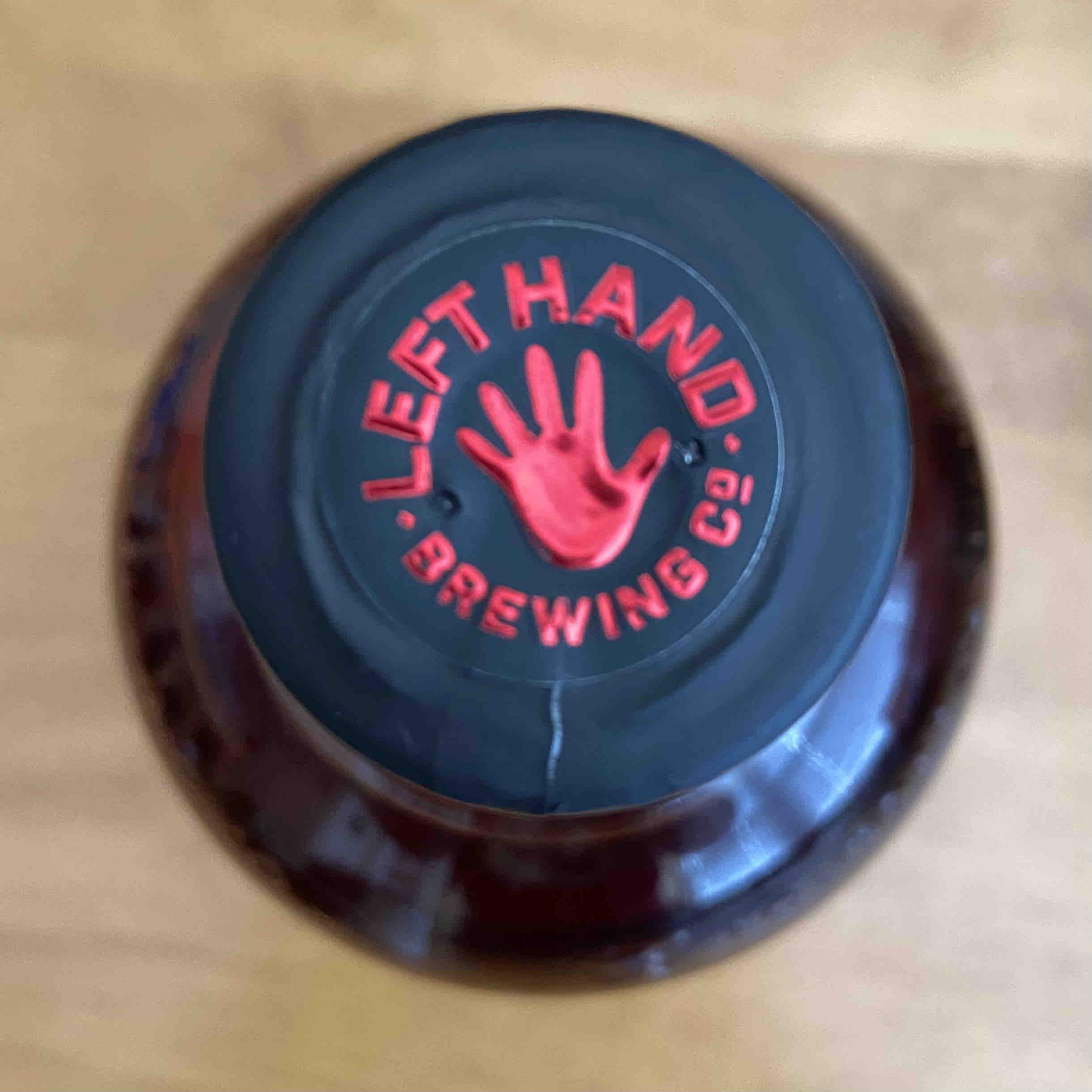 The cap on the bottle of Sinister Malt Whiskey from Left Hand Brewing and Foundry Distilling Co.