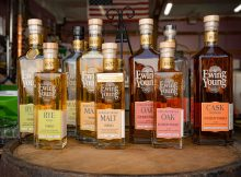 The lineup of whiskey from Ewing Young Distillery. (image courtesy of photographer Erica Davis)