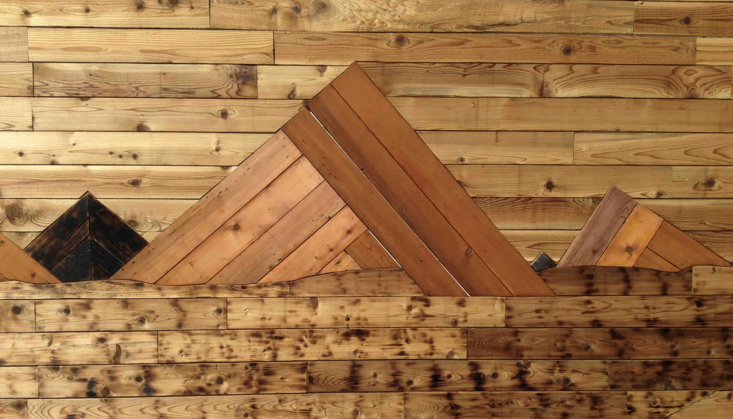 Wood artwork adorns the walls at ForeLand Beer in McMinnville, Oregon. (photo by Jessica Wilmes)JPG